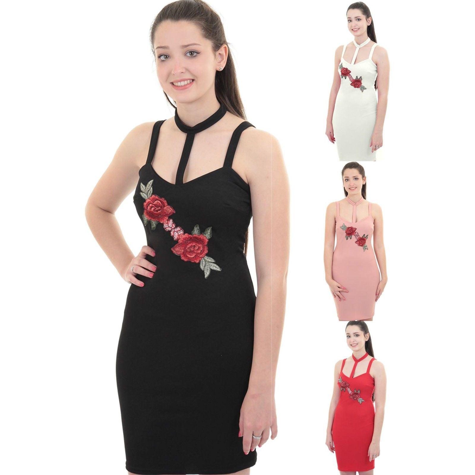 Details about Ladies Sleeveless Choker V Neck Harness Floral Rose Bodycon  Short Mini Dress 69e3e8a432dc