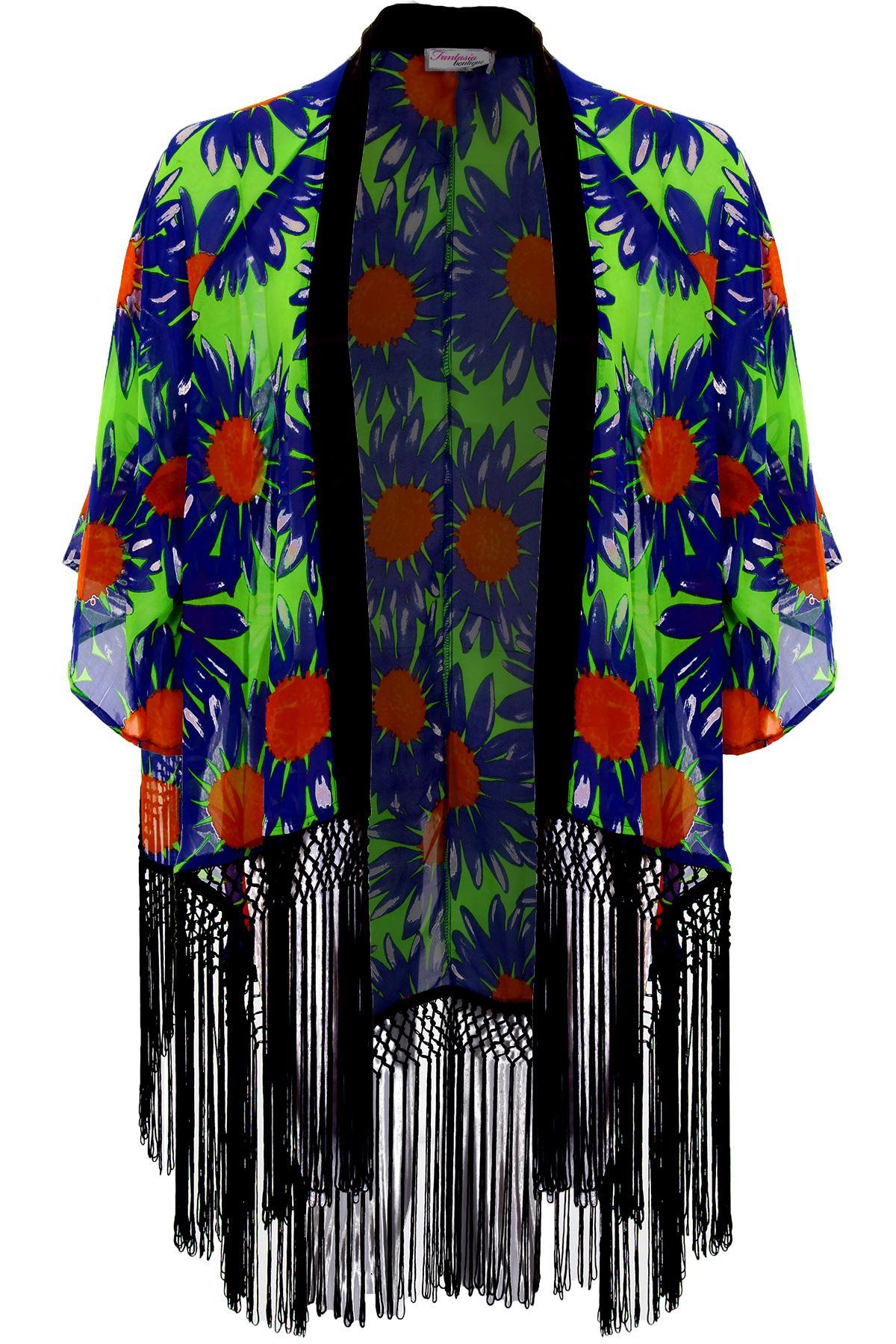 Damen chiffon blumenmuster fackel rmel troddel offene - Kimono jacke damen ...