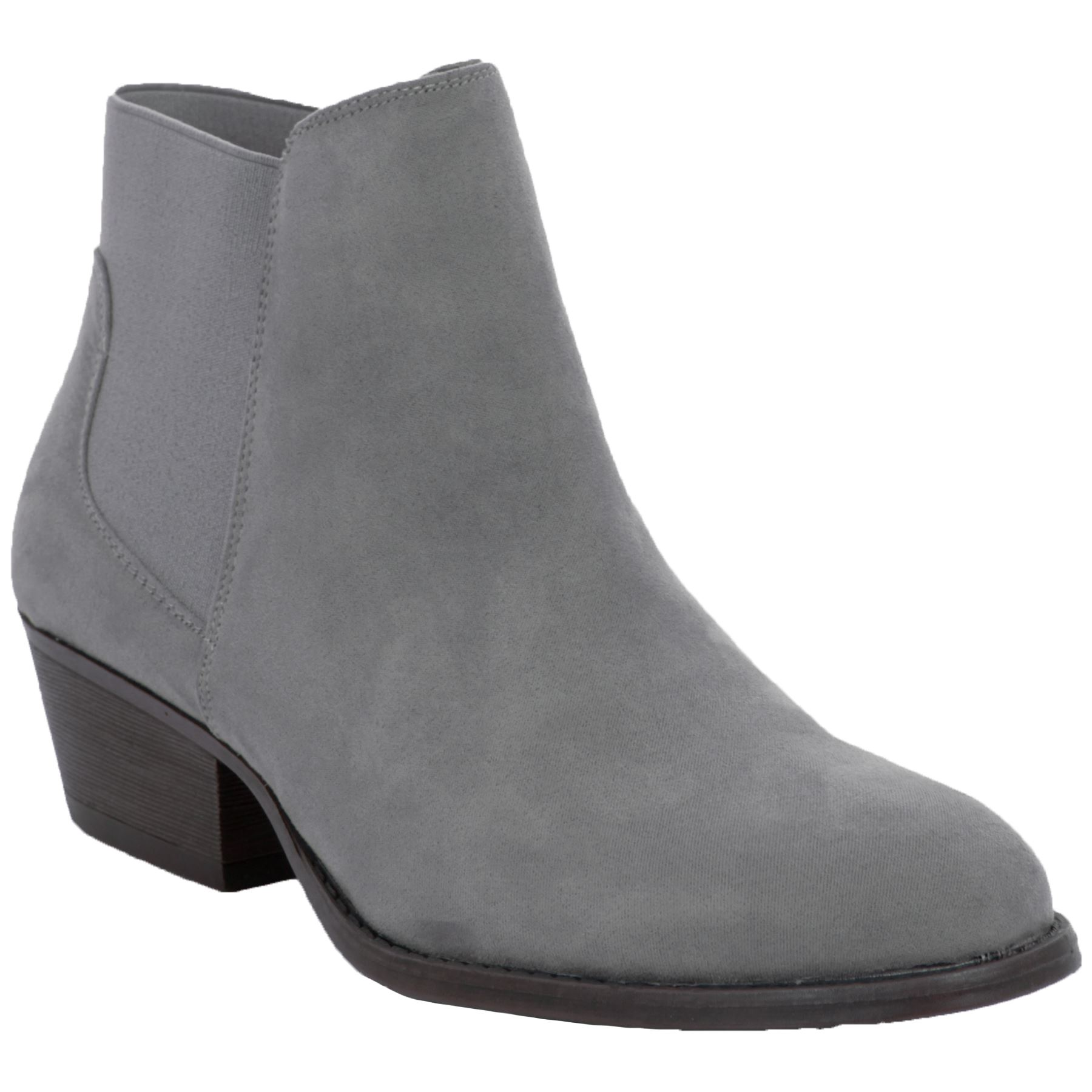 Womens Elasticated Low Block Chunky Heel Faux Suede Chelsea Ankle Boots