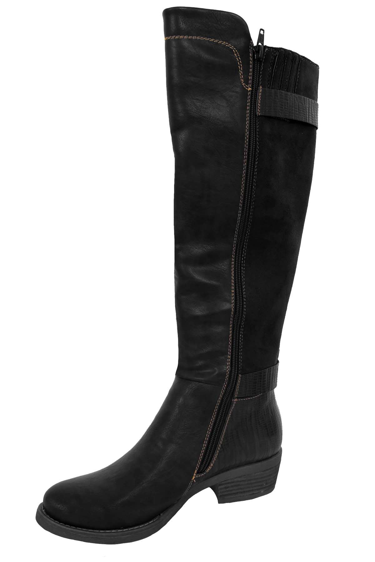 Womens-Faux-Leather-Suede-Contrast-Calf-High-Zipper-Buckle-Low-Heel-Boots