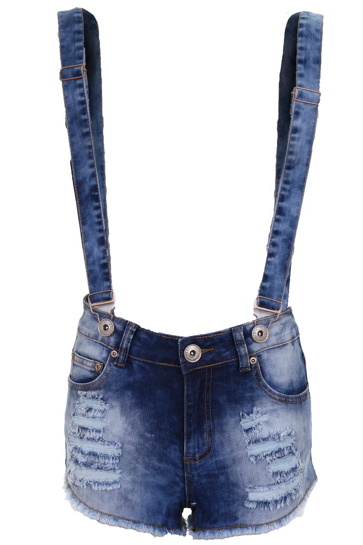 Women-039-s-Distressed-Denim-Brace-Frayed-Summer-Causal-Ladies-Shorts-Dungarees