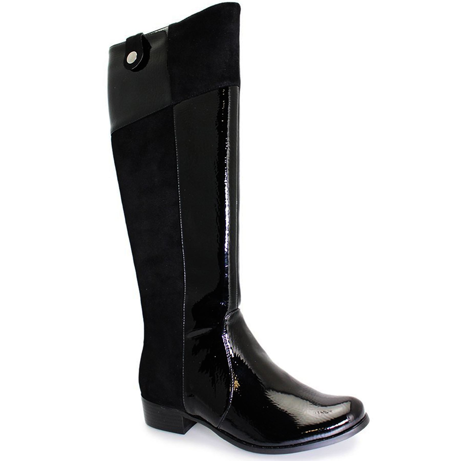Ladies Suede Patent Contrast Low Women's Low Contrast Heel Black Knee High Boots Shoes d6eff4