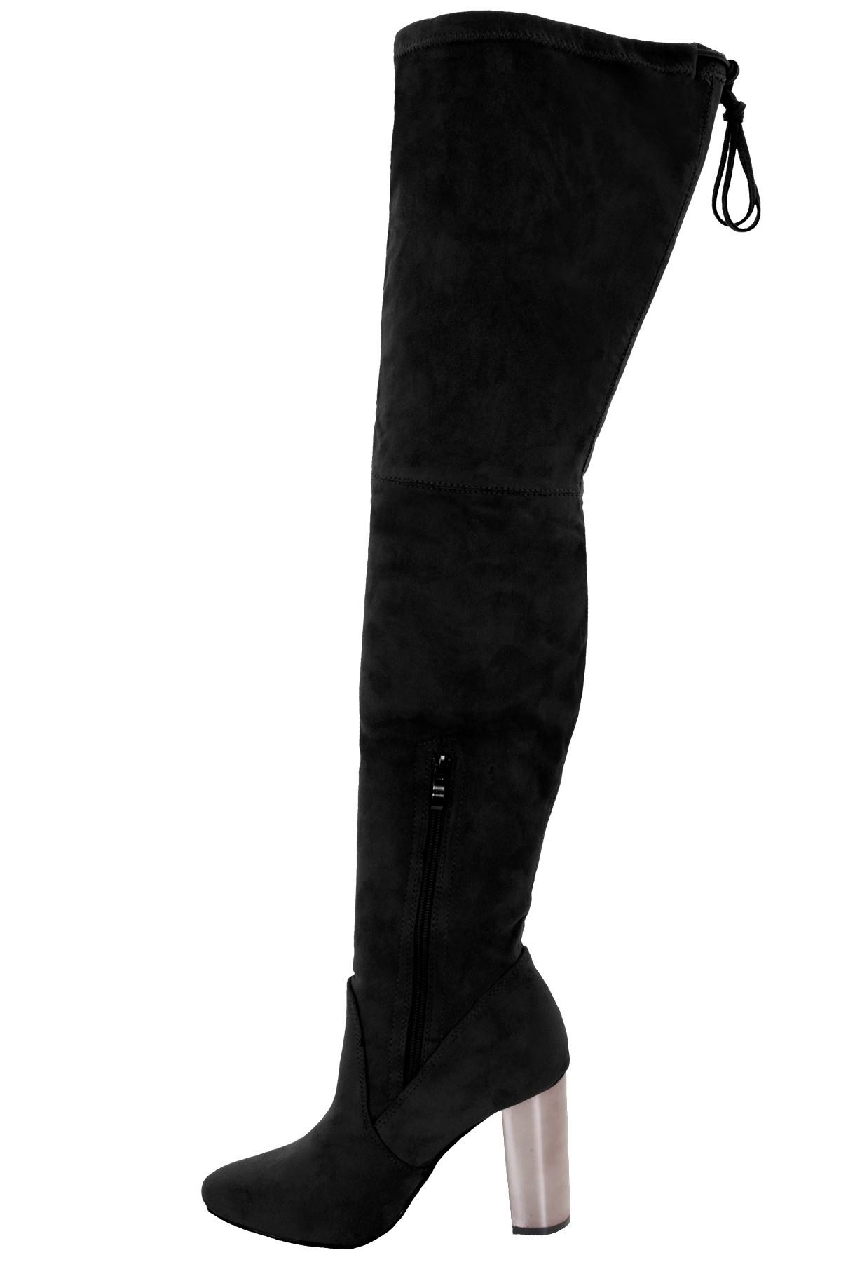 Womens Over The Knee Thigh High Metallic Block Chunky Heel Suede Boots
