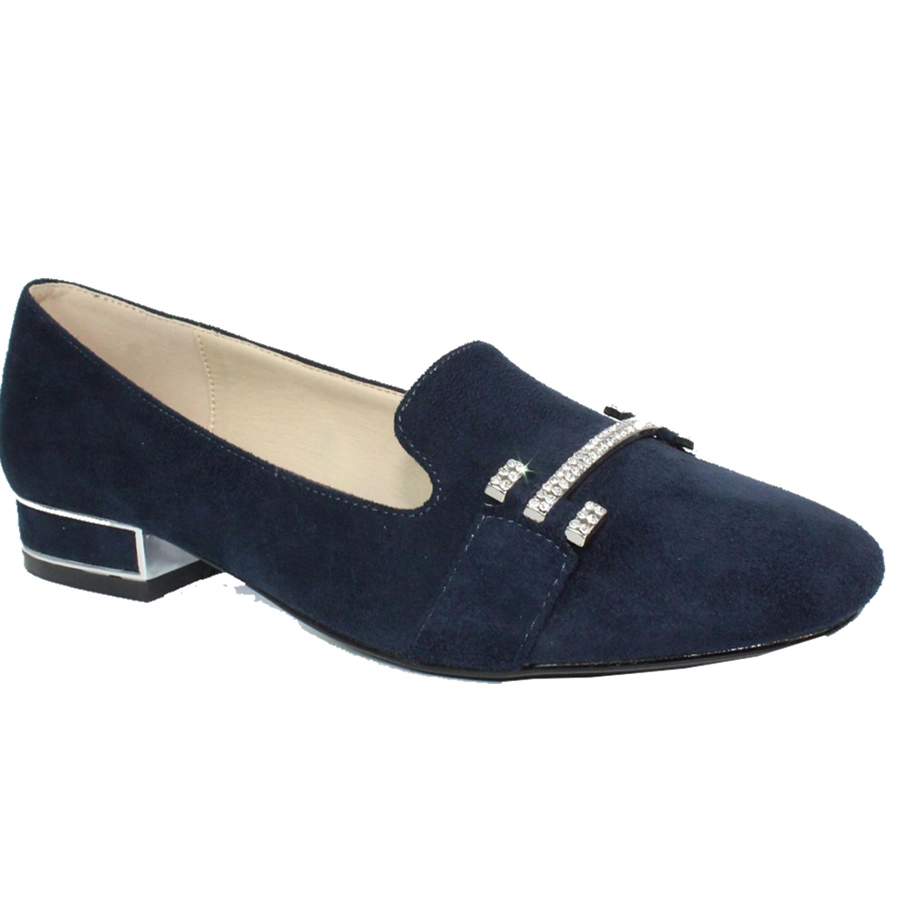 FLH930 Tessa Slip On Diamante Faux Suede Pumps Flat Padded Insole Shoes