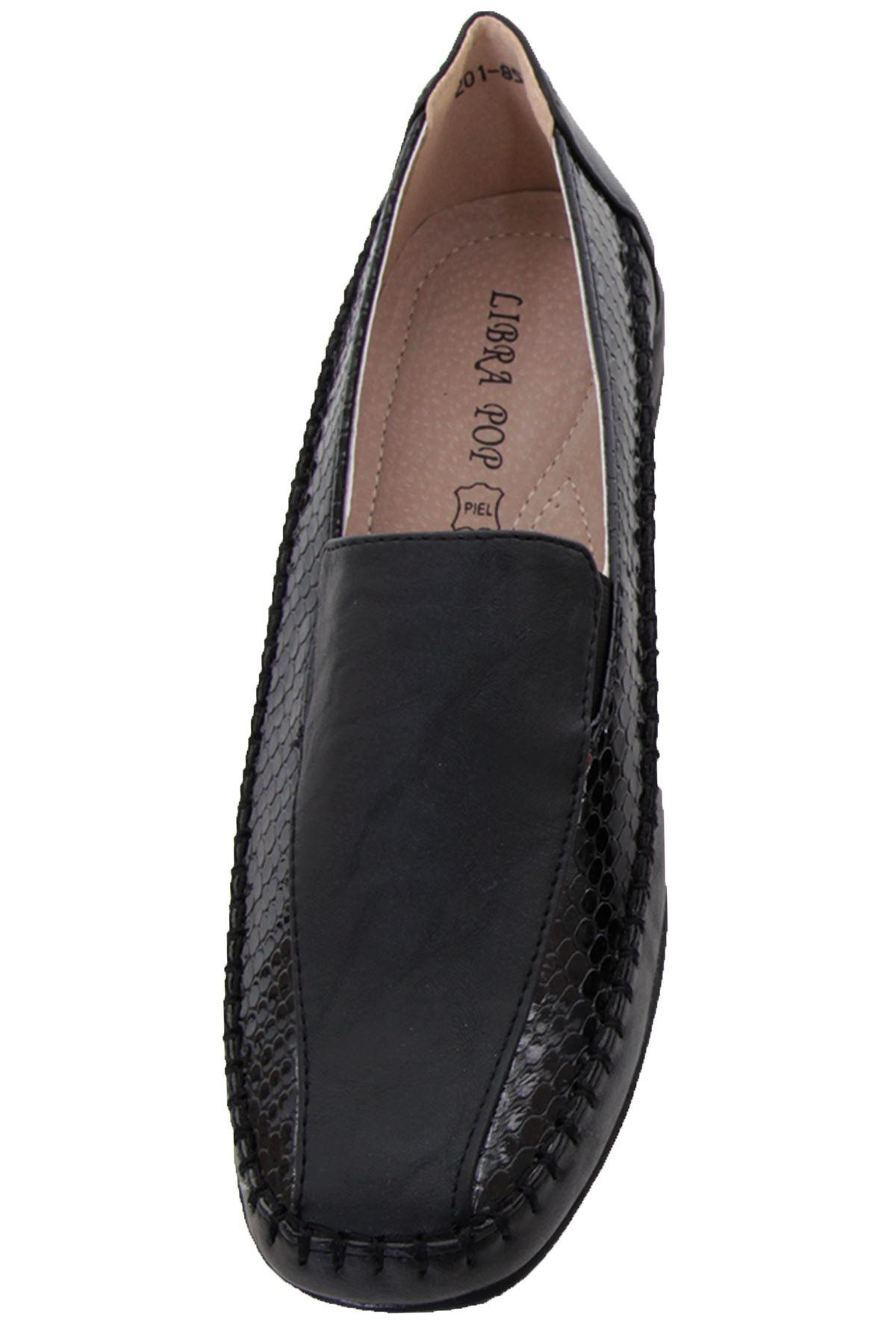 Señoras Taco Plano Imitación Cuero Serpiente patente Acolchada Suela Antideslizante en cómodos zapatos