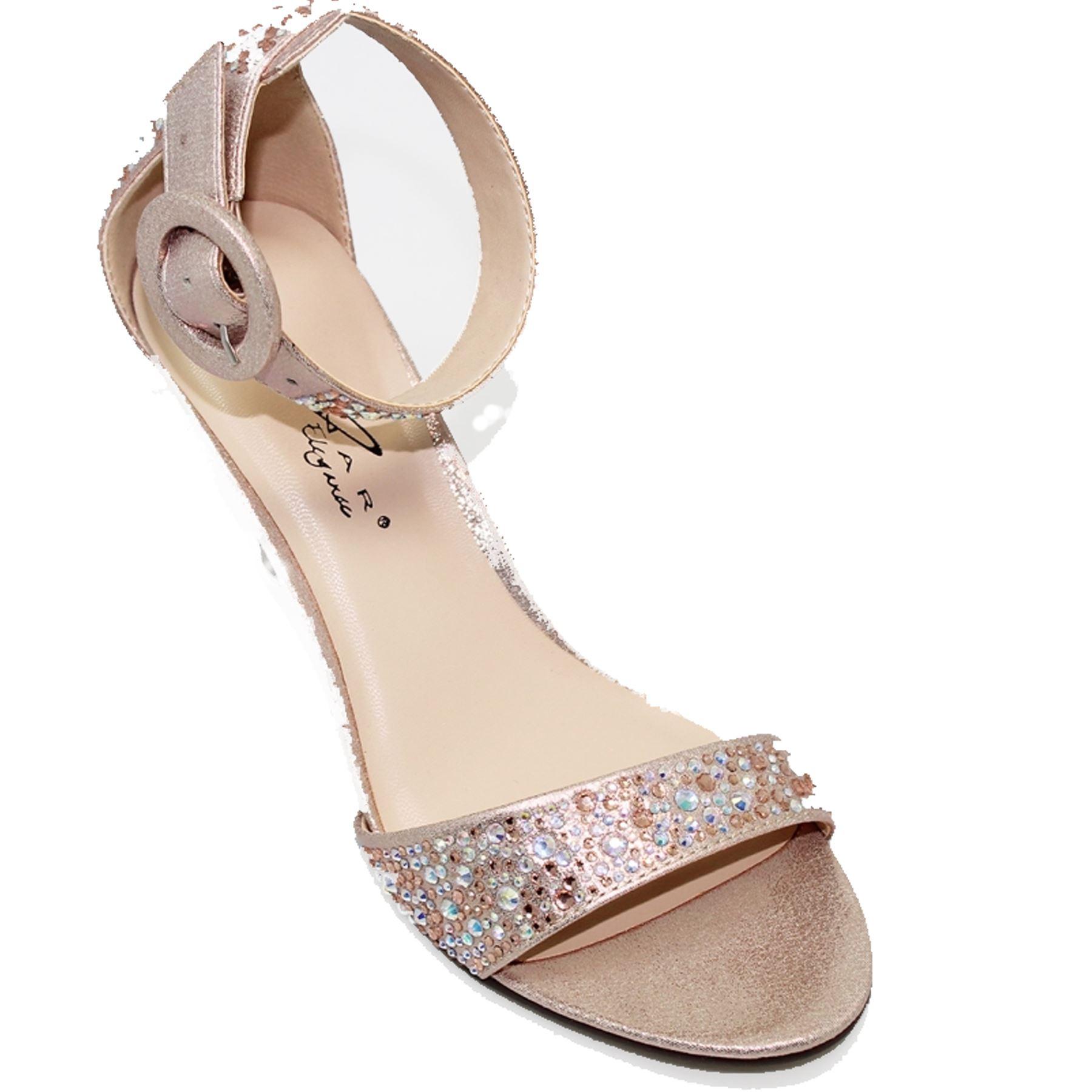 FLR491 Peep Selina Metallic Faux Leather Ankle Strap Peep FLR491 Toe Gemstone Heels Bag 4a639e