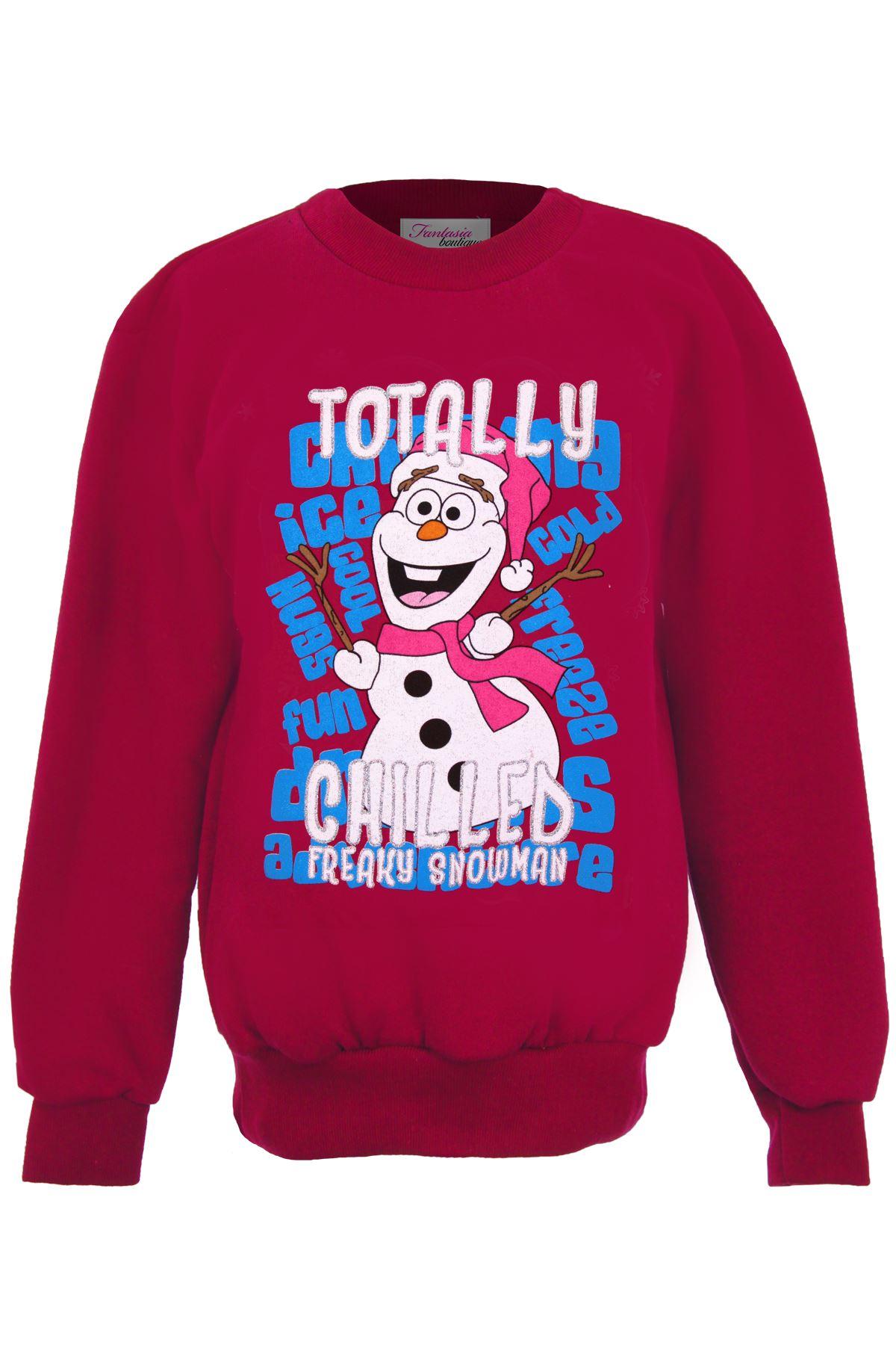 Girls Christmas Sweatshirt Kids OLAF FROZEN Xmas Totally Chilled Snowman Winter