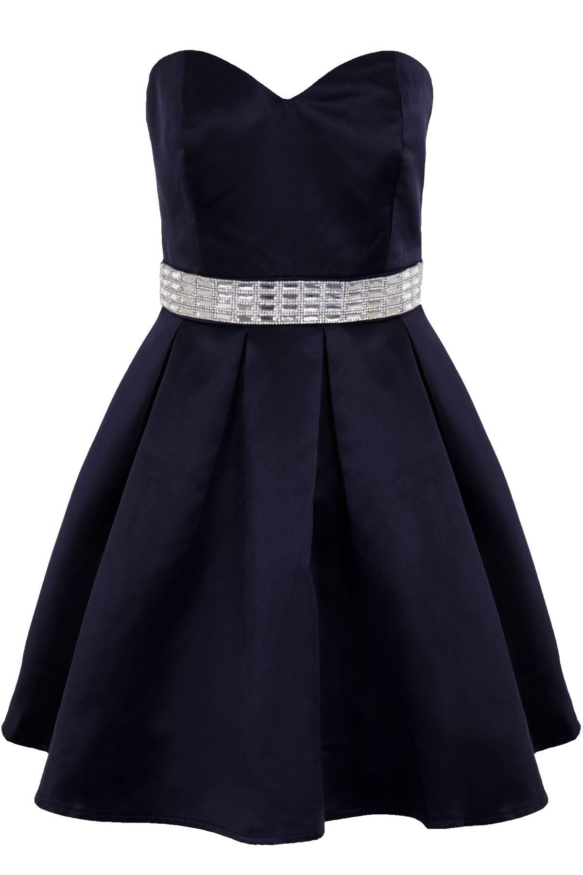 Ladies Bustier Satin Feel Diamante Waist Women/'s Pleated Cocktail Skater Dress