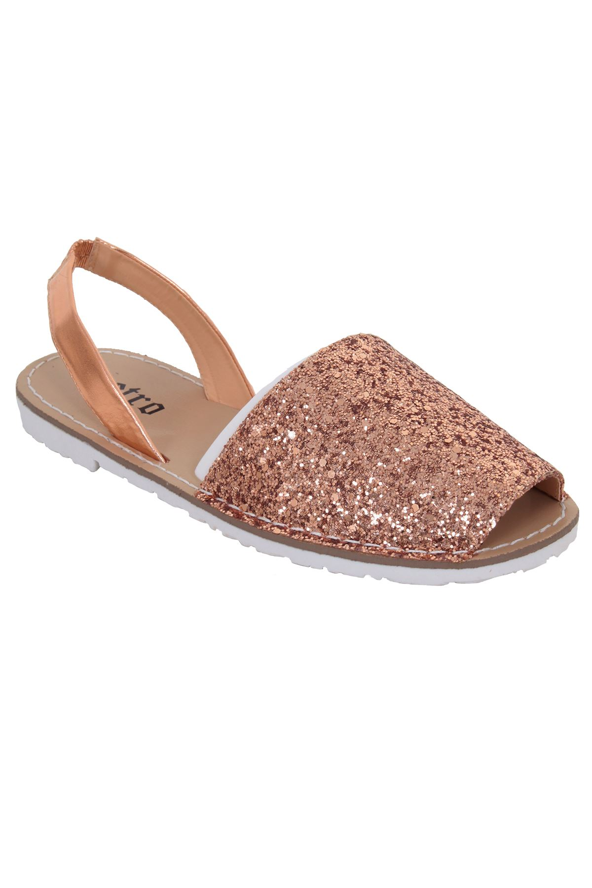f3400a335 Ladies Sling Back Menorcan Peep Toe Glitter Mules Sandals Flat Beach Shoes