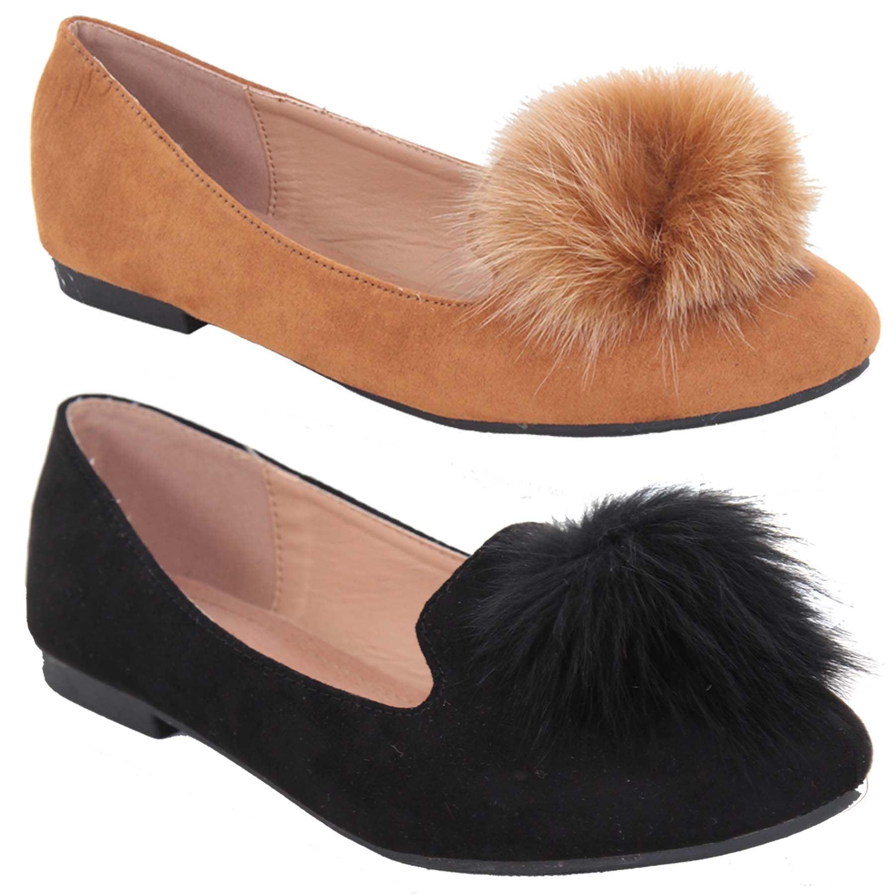Womens Fur Pom Pom Tassel Slip On Suede Ballet Pumps Dolly Shoes Flats