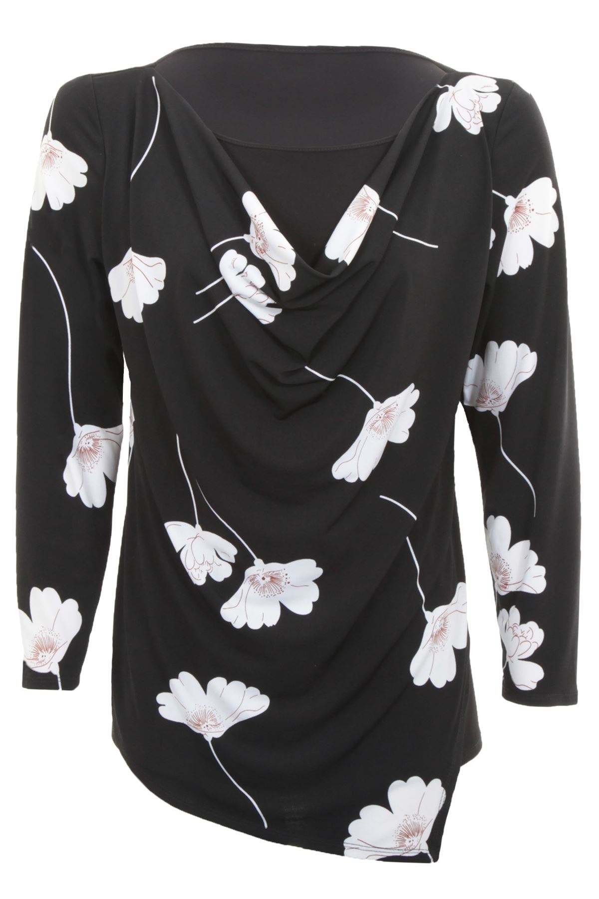 F47 NEW WOMENS FLORAL PRINT BLOUSE LADIES COLLAR CHIFFON COWL NECK DRESS TOP.