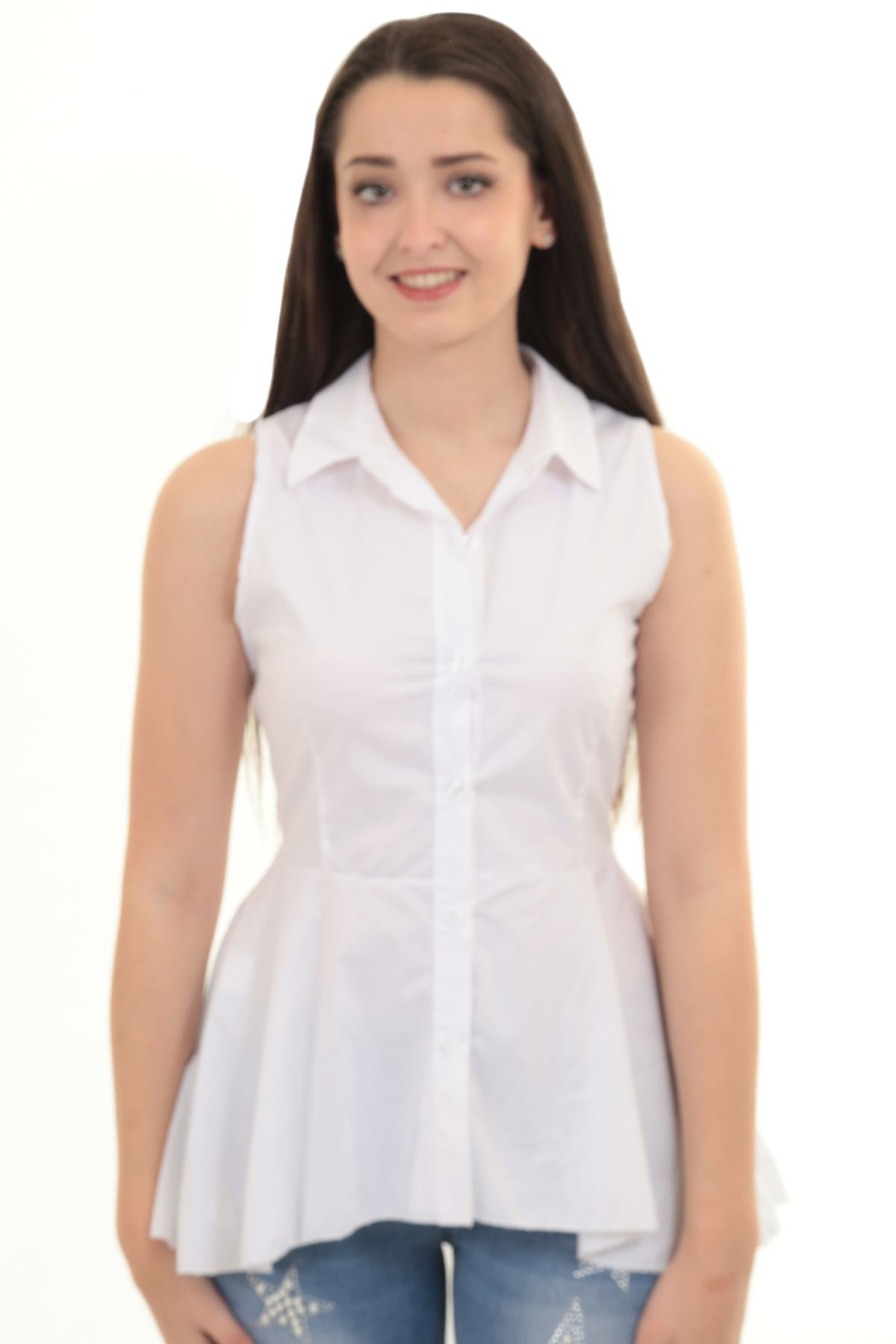 a754973a425c8f Ladies Sleeveless Plain High Low Fishtail Flare Button Up Top Shirt Blouse