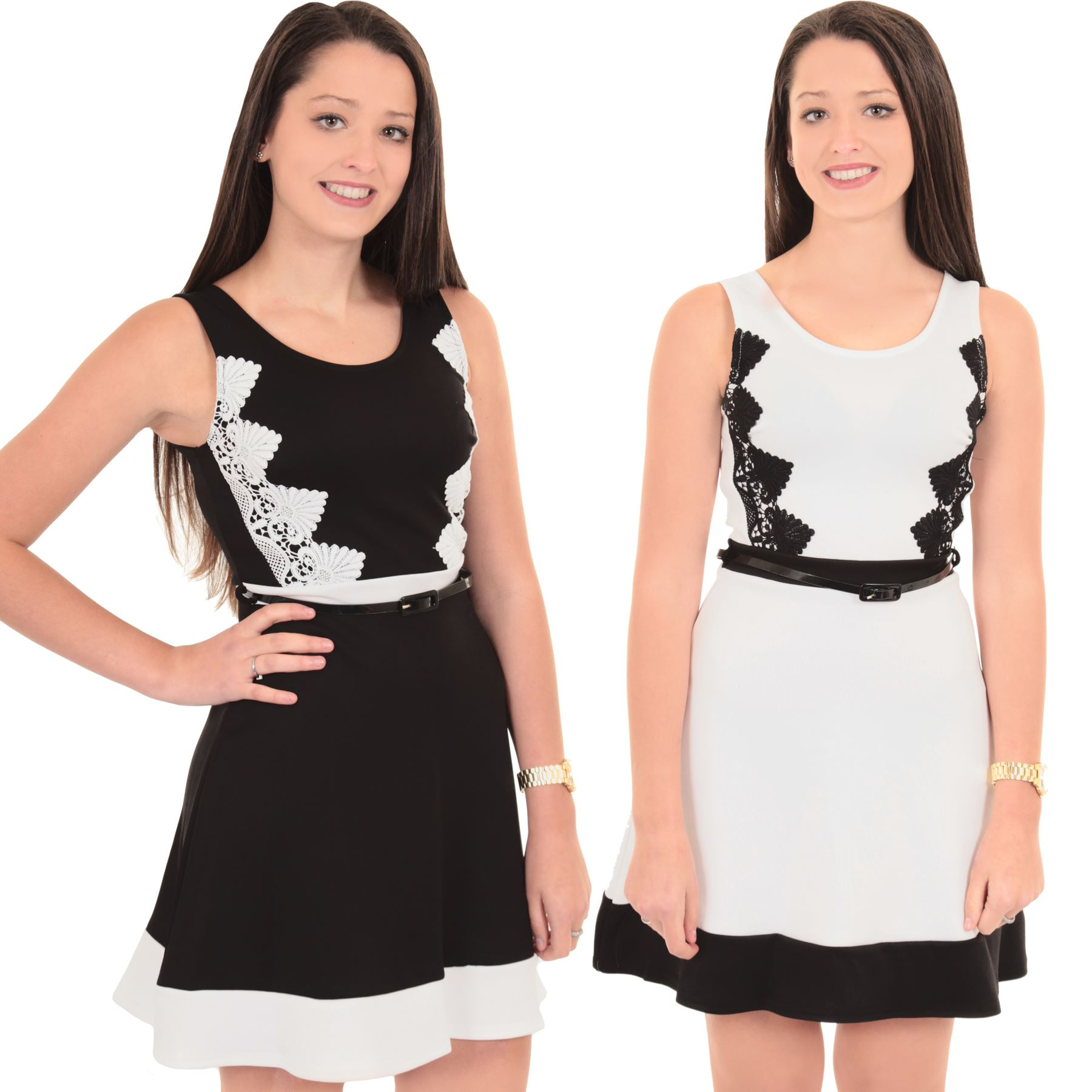 Ladies Plus Size Sleeveless 2 In 1 Colour Contrast Belted Skater Party Dress Top