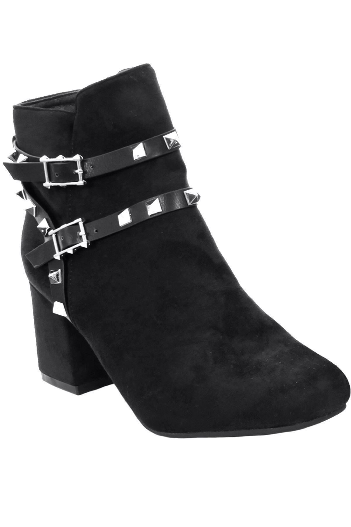 Women-s-Smart-Faux-Suede-Block-Heel-Spike-Studded-Strap-Ankle-Boots-Shoes