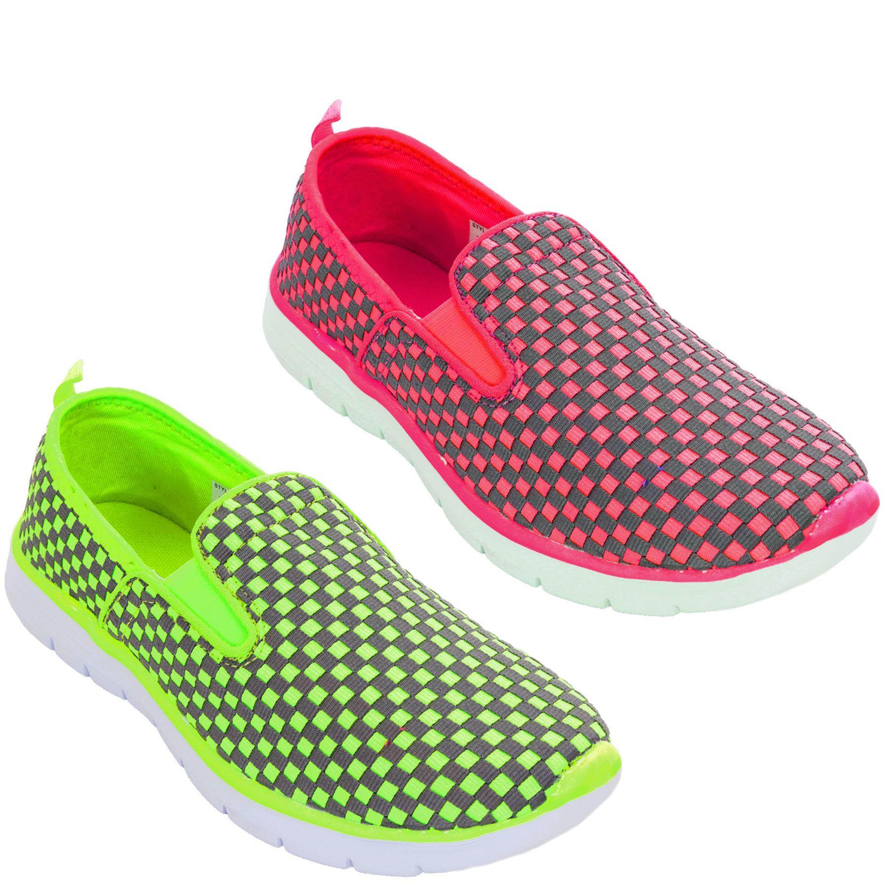 Detalles de Mujer sin Cordones Zapatillas de Cuadros Planas Zapatos Cómodos