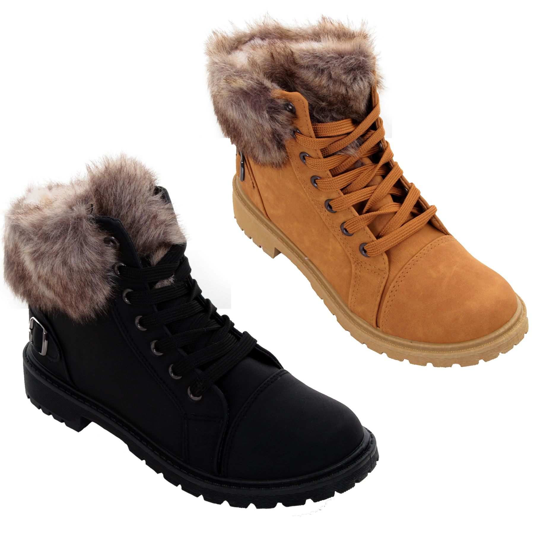 Womens Fur Lined Warm Winter Boots Ladies Ankle Strap Fastening Grip Sole Shoes