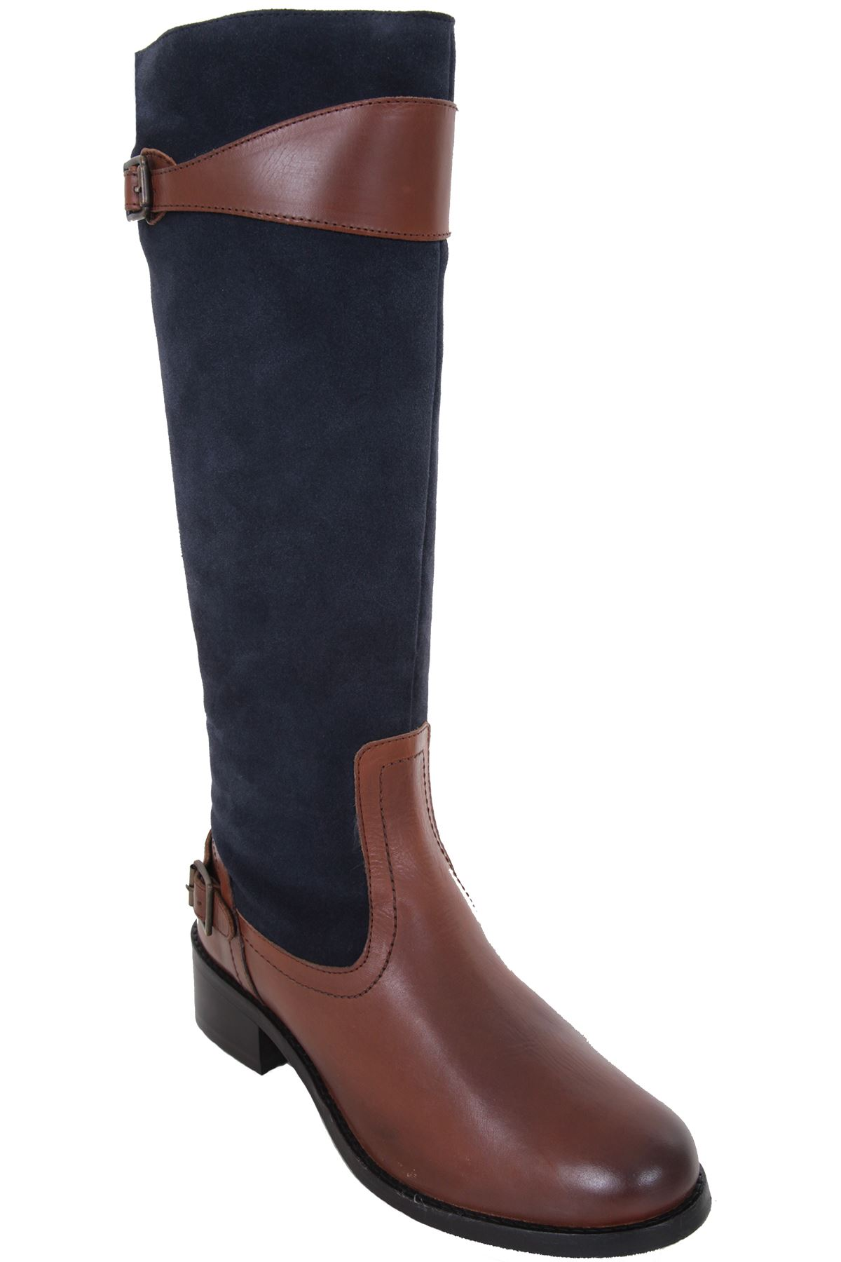 GLH471 Suede Contrast Real Genuine Leder Stiefel Calf High Niedrig Heel Stiefel Leder 689dd2