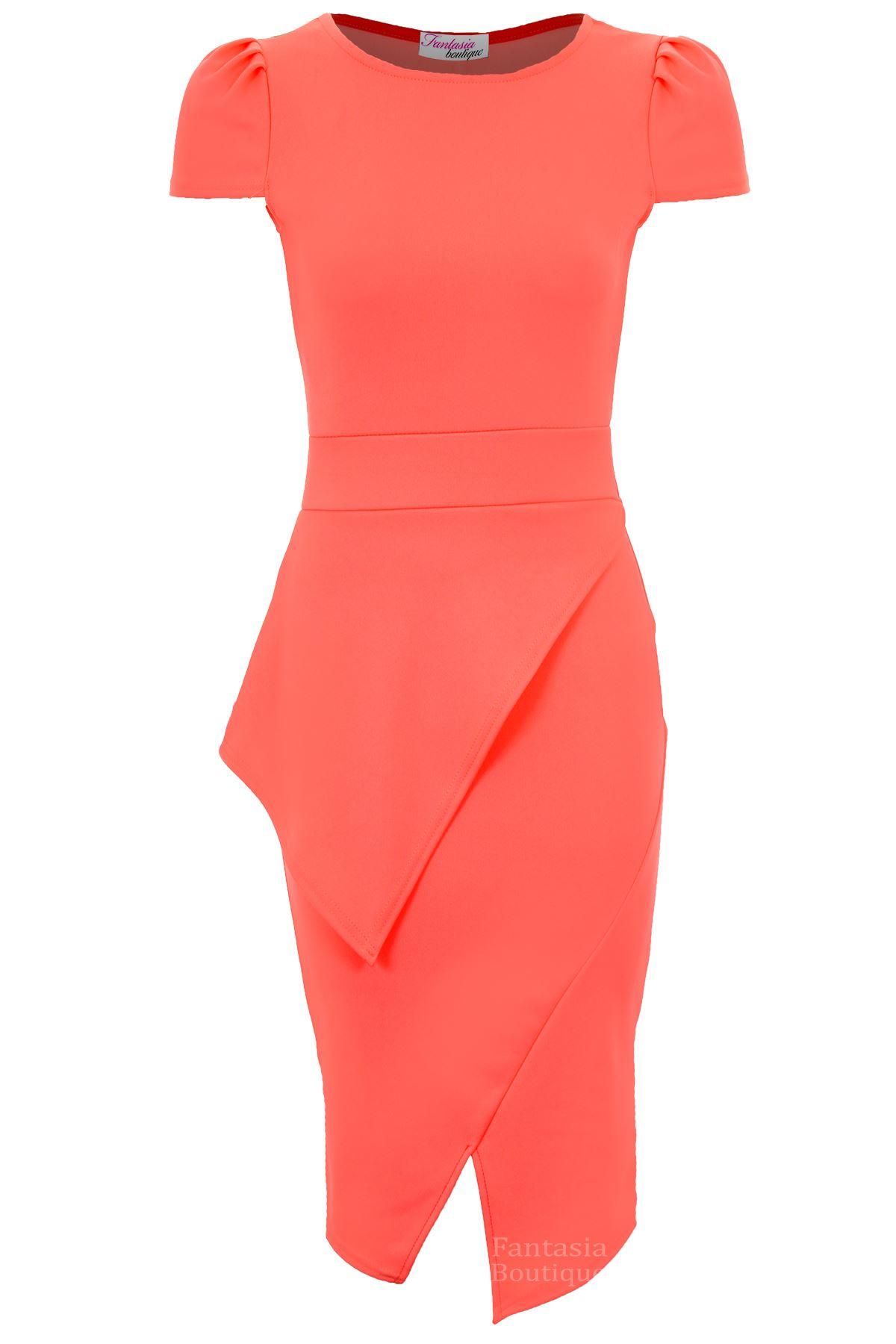 Ladies-Cap-Sleeve-Asymmetric-Neon-Pencil-Bodycon-Sexy-Women-039-s-Midi-Party-Dress
