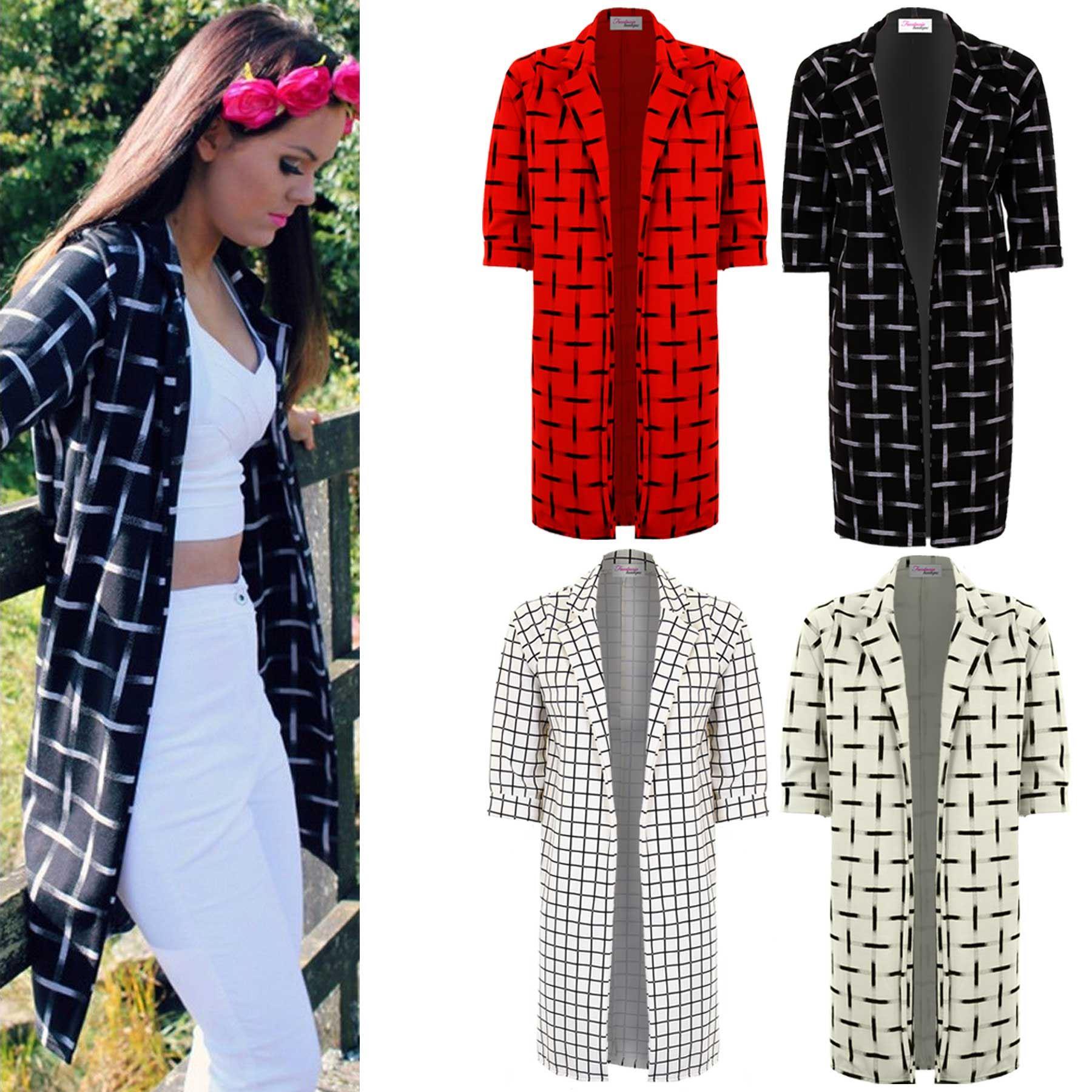 Ladies Checked Check Long Boyfriend Blazer Women's Suit Jacket Coat Trousers Coats, Jackets & Vests Clothing, Shoes & Accessories