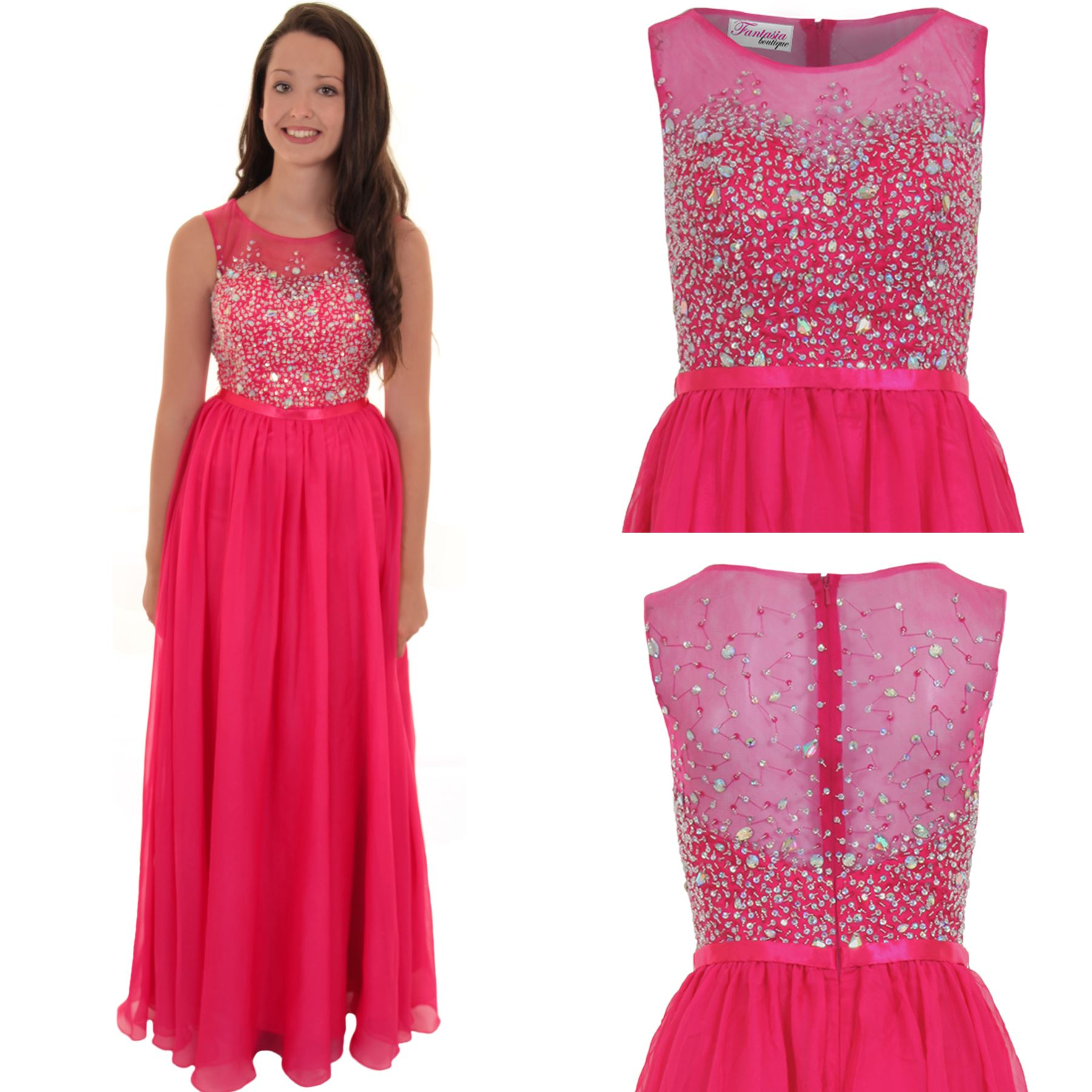 Womens Sleeveless Crystal Beaded Chiffon Mesh Ball Gown Prom Wedding ...