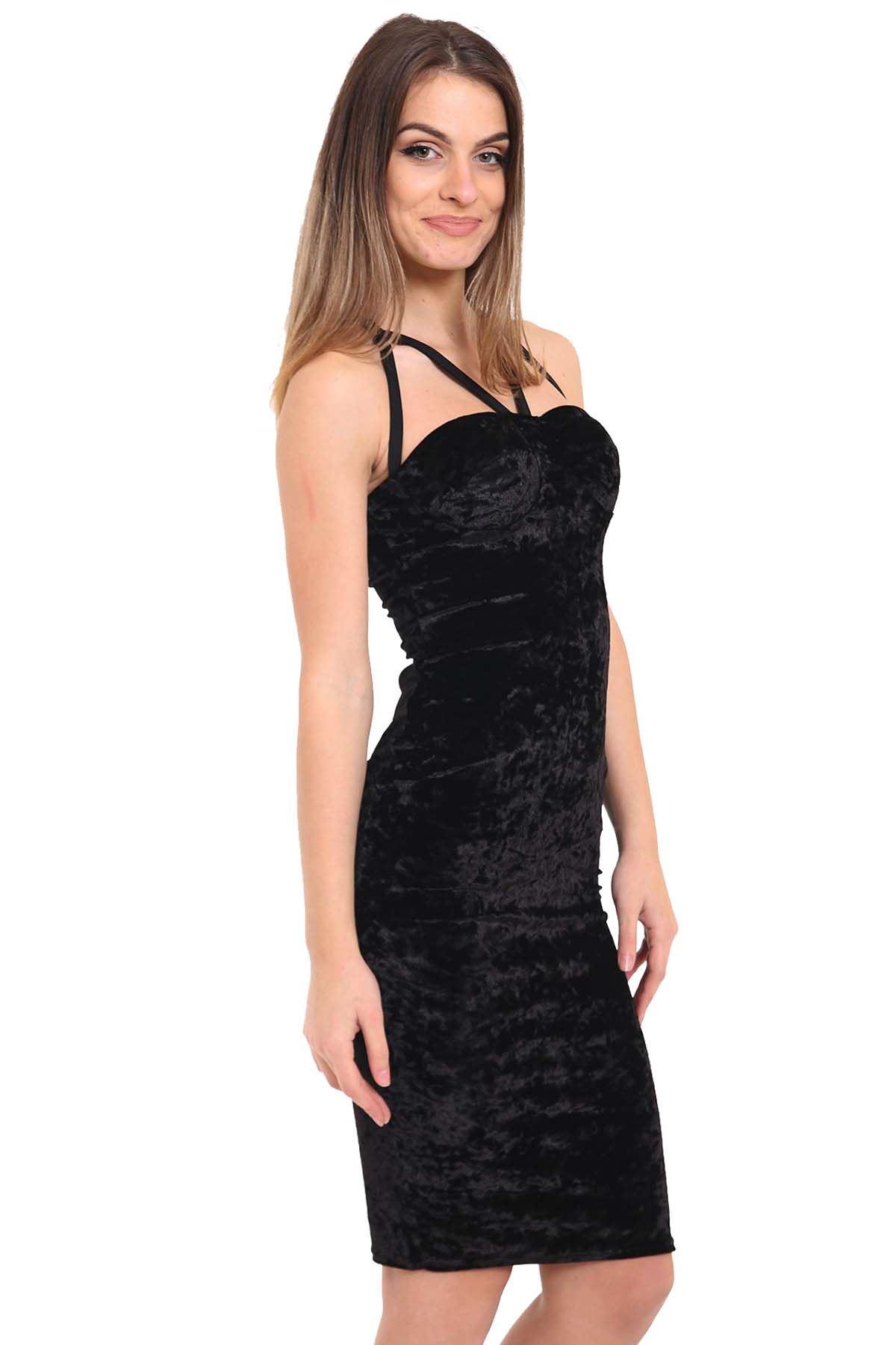 Black velvet bodycon midi dress new look new