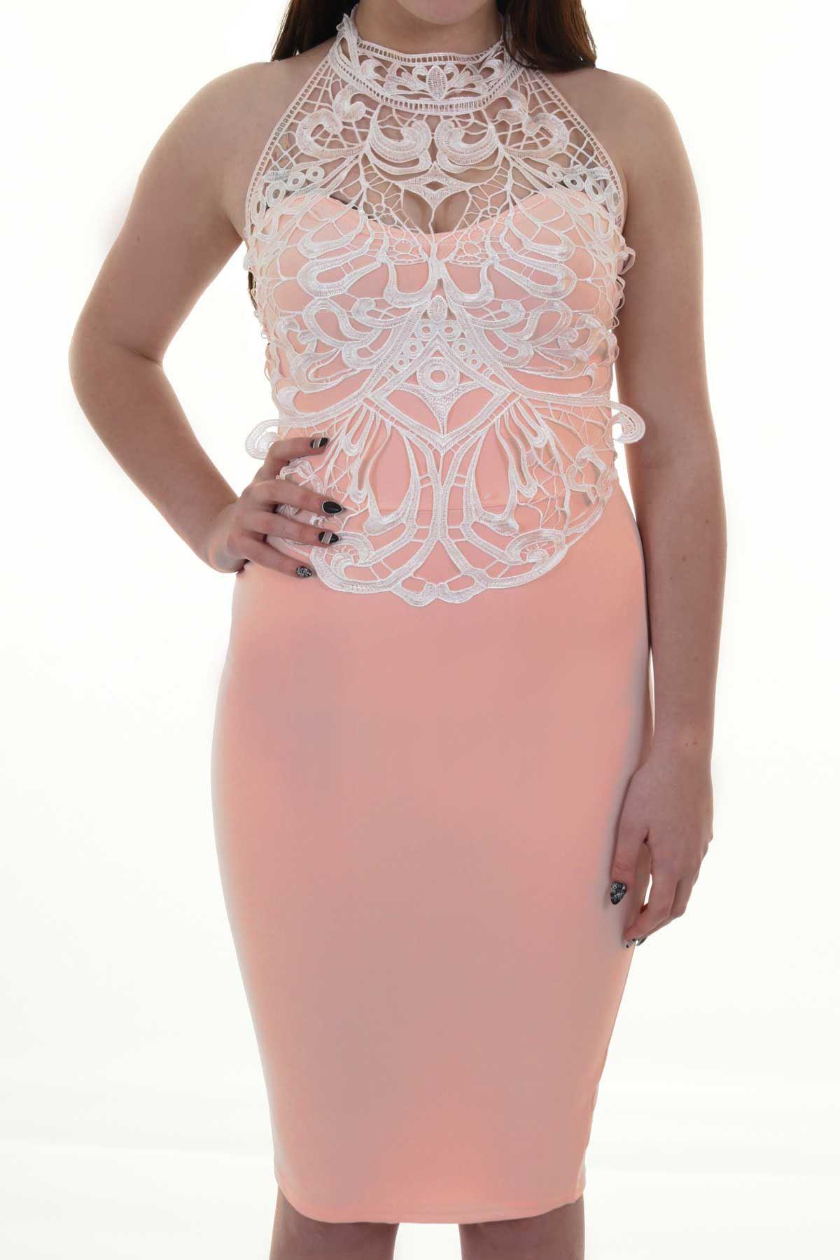 Ladies High Neck Tie Back Lace Crochet Women/'s Party Pencil Bodycon Dress