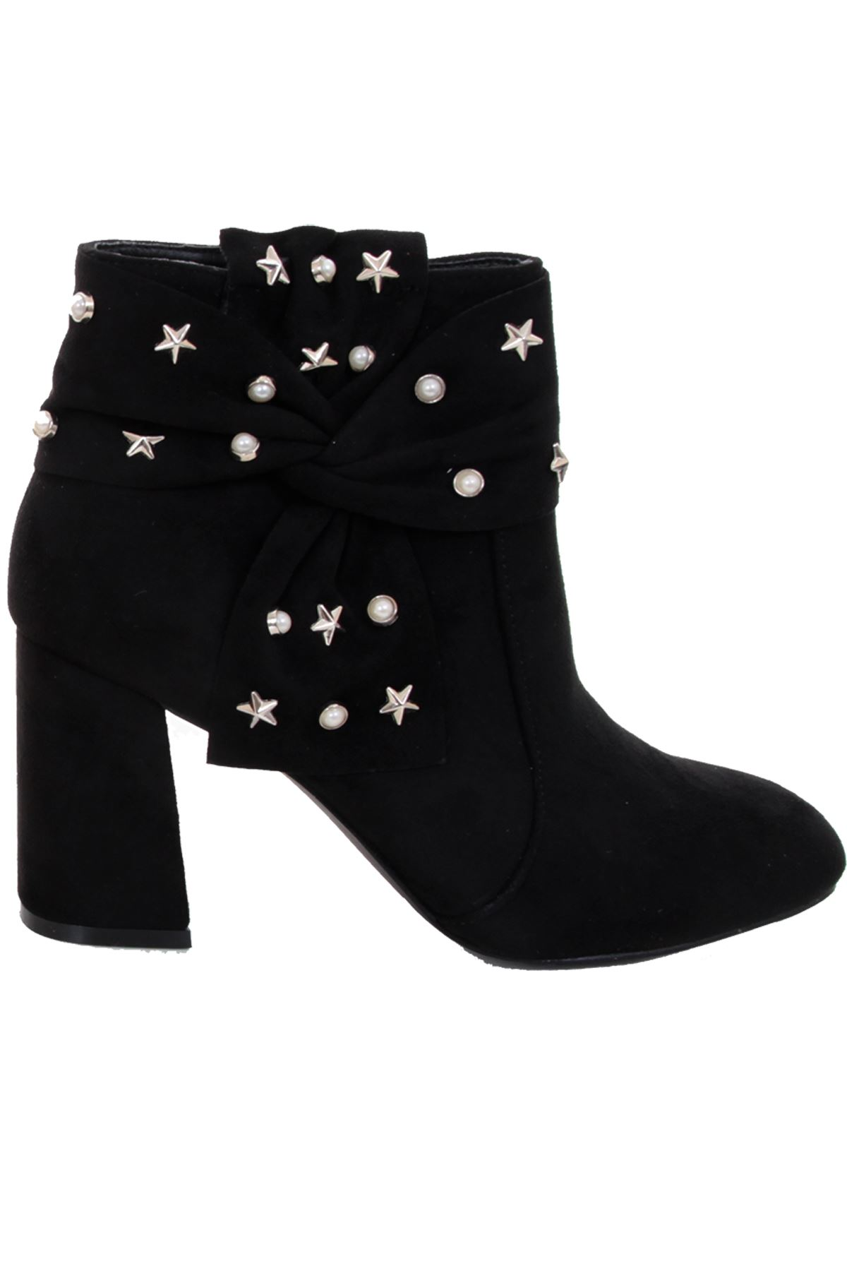 26ac8d3bd Ladies Chunky Block Heel Faux Suede Star Pearl Studded Zipper Ankle ...