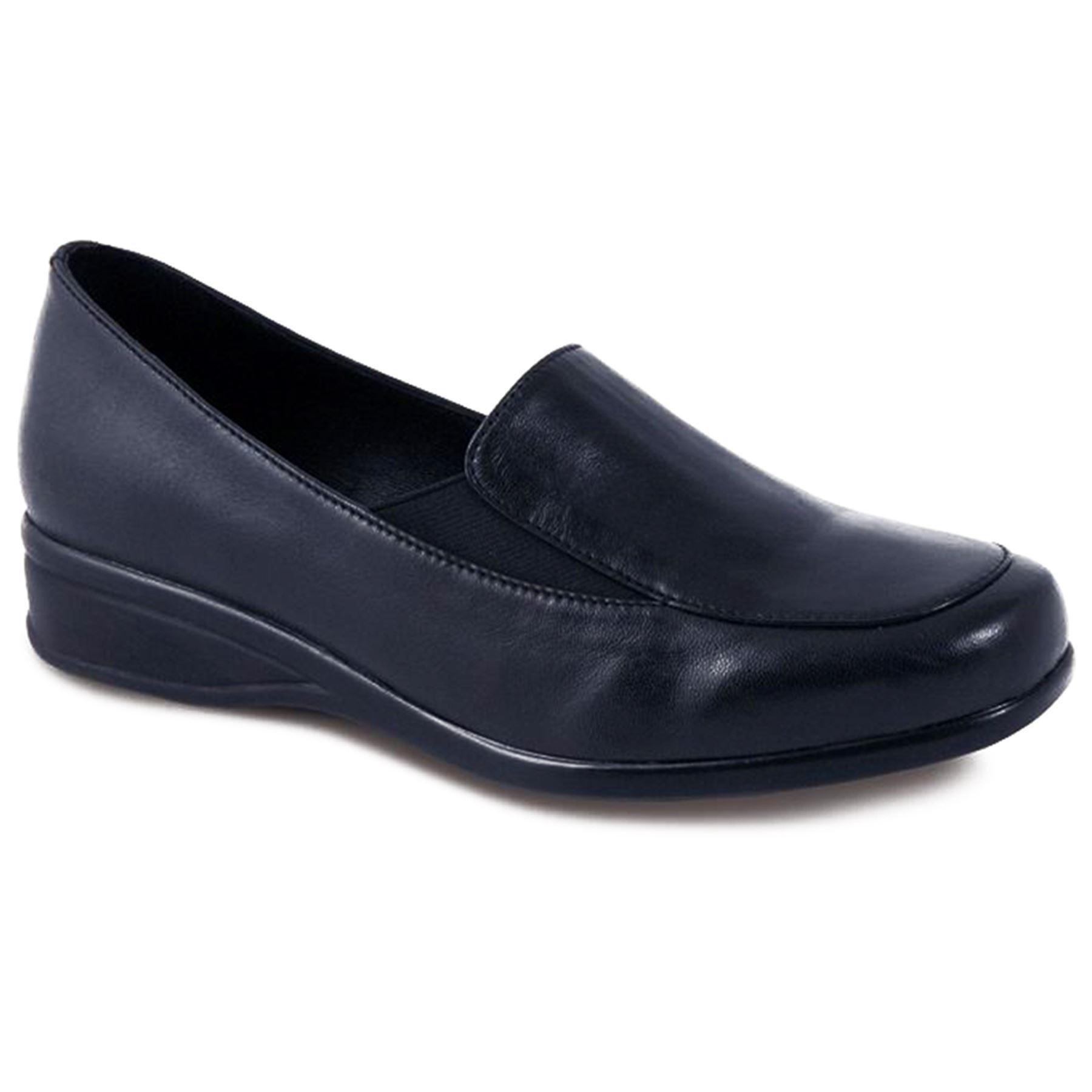 Kleine Damen Damen Keil schwarz Zinn Leder Damen Damen bequem breite Passform Schuhe 6d7b3d