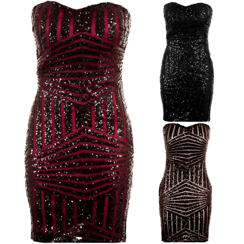dc1372bf2e Details about Women s Black Red Nude Sequin Plain Back Ladies Boobtube  Party Bodycon Dress