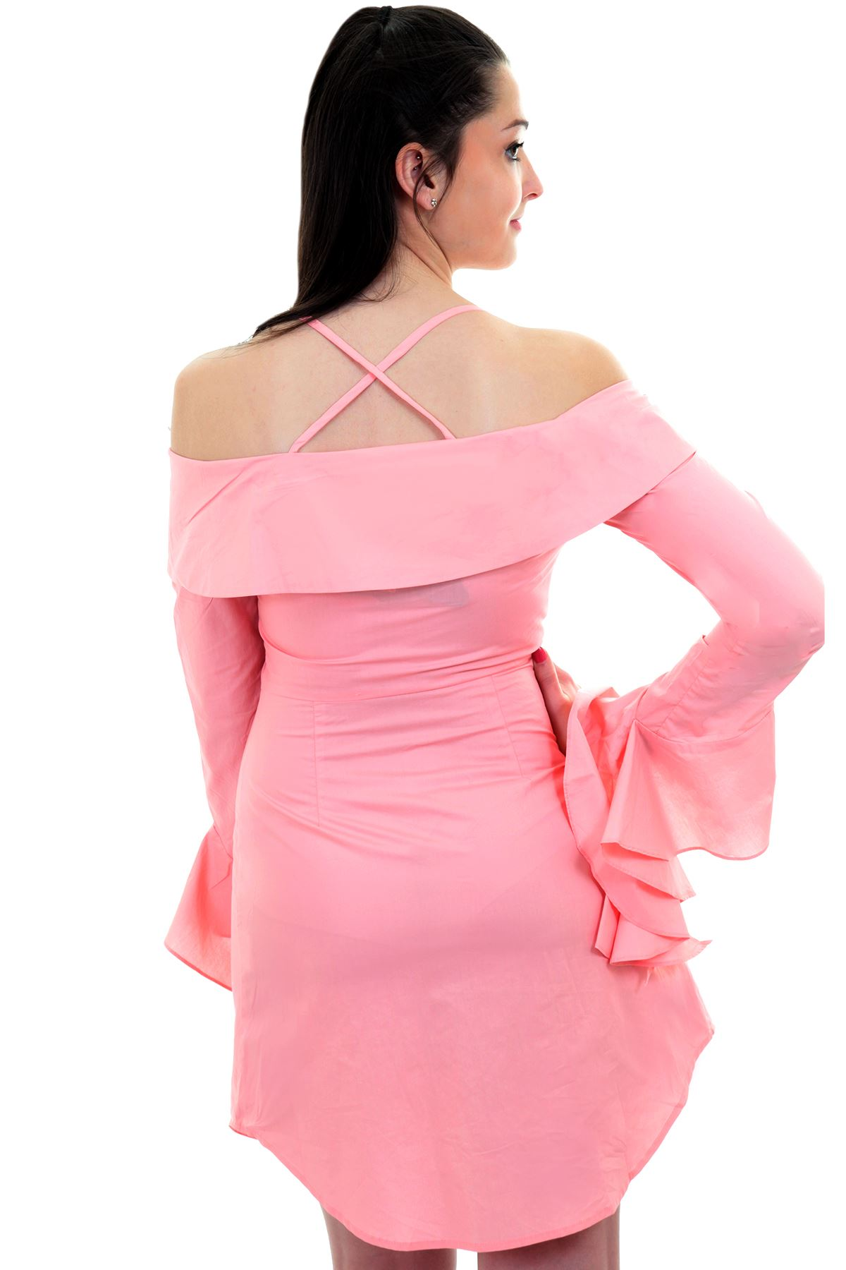 Ladies Bardot Off Shoulder Ruffle Bell Sleeve Button Up Long Shirt ...