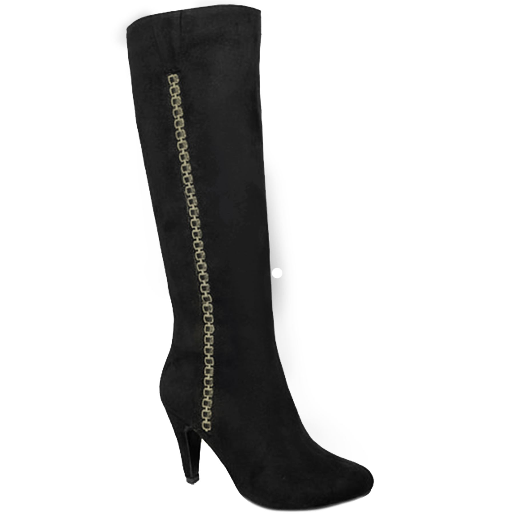 GLC565 Hadley Side Zip Faux Suede Calf High Chain Pointed Toe Heeled Stiefel