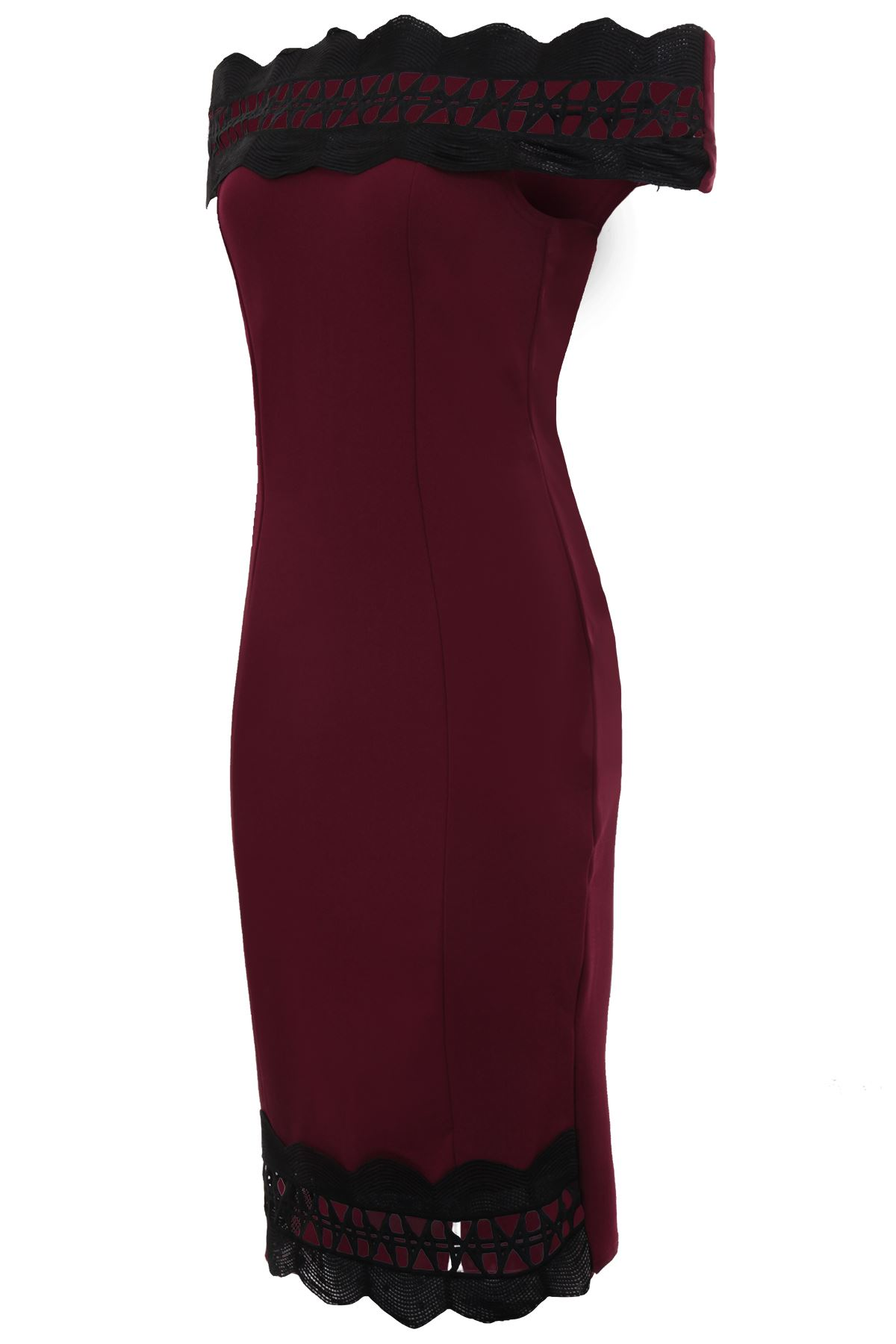 Ladies Bardot Off Shoulder Scallop Lace Trim Textured Split Back Bodycon Dress