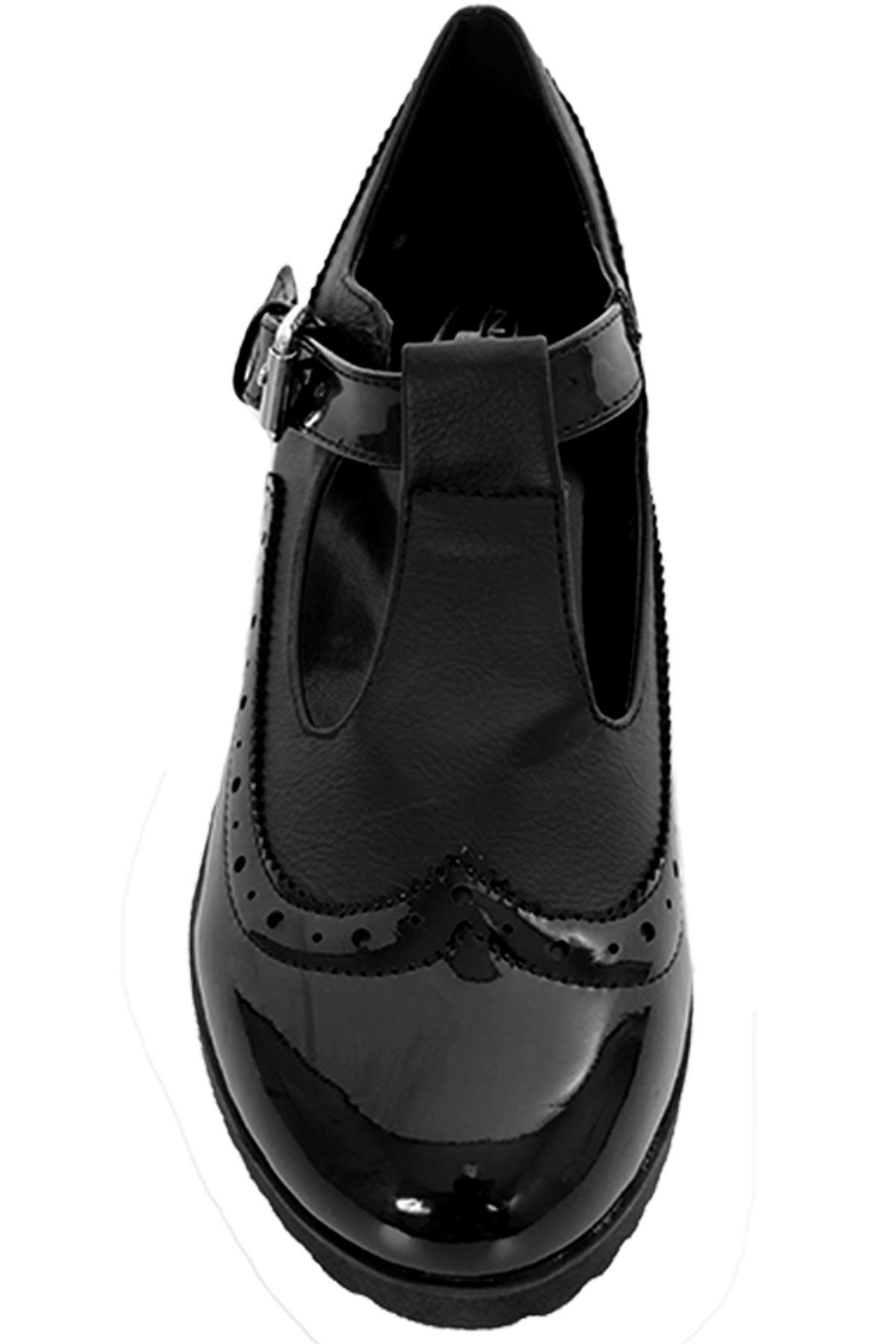Hebilla Correa señoras de patente Contraste T Dolly Zapatos Planos Cuero Calado De Trabajo Escolar