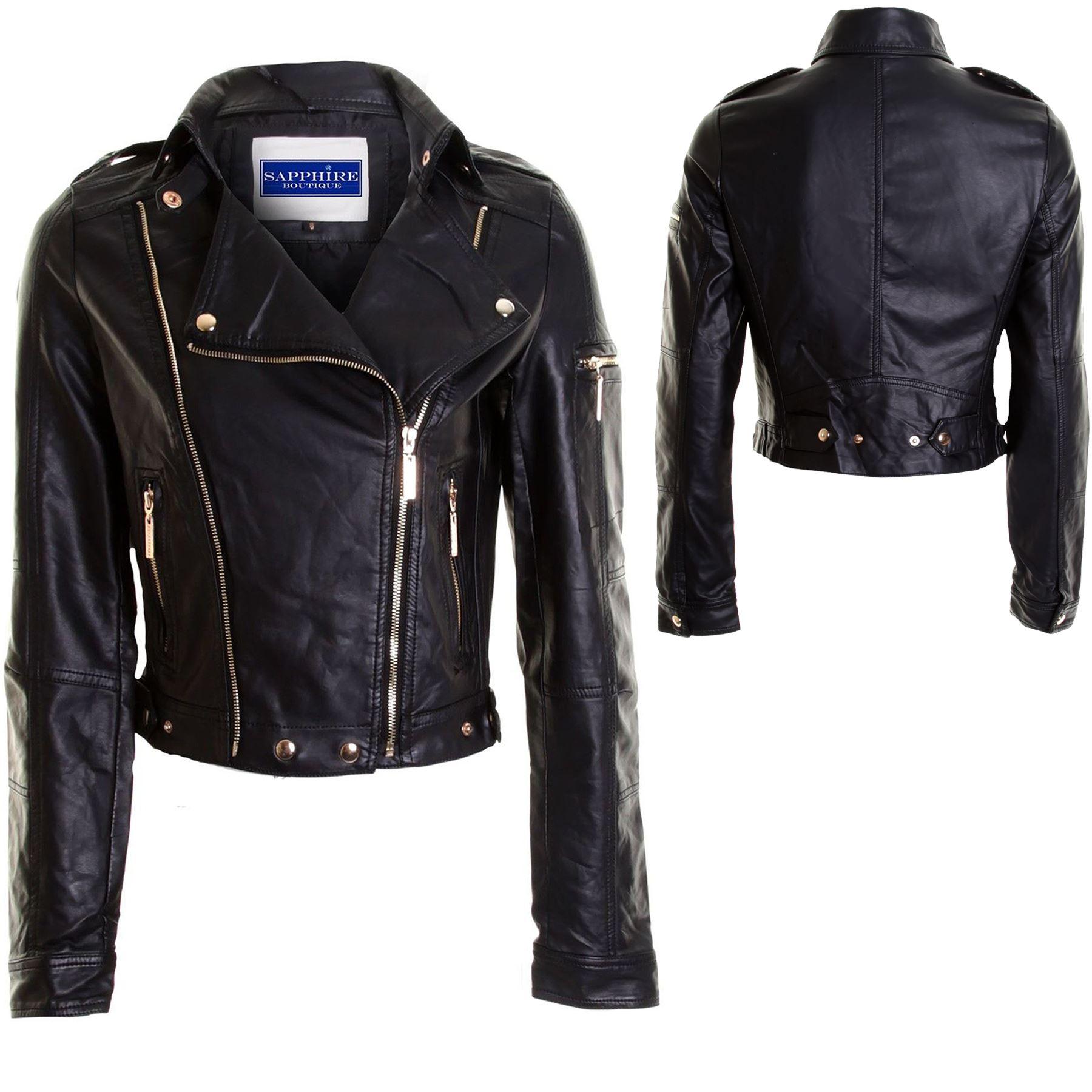 Las nuevas señoras de cuero Biker Zip negro PVC bombardero chaqueta abrigo  mujer 8 10 12 14 45a5191a1636