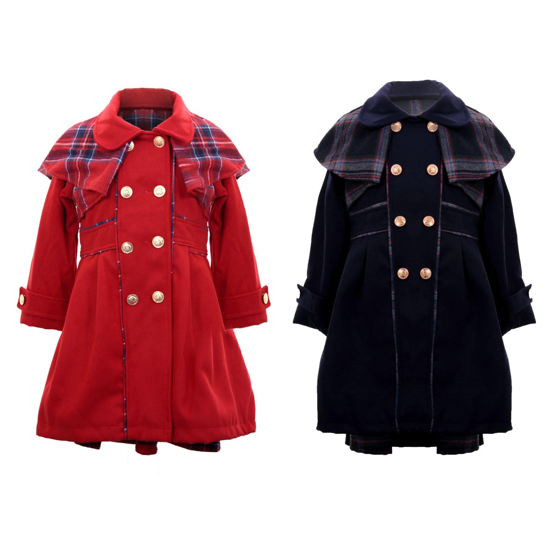 Childrens Lined Warm Fleece Smart Coat Skater Dress Girls Tartan Matching Set