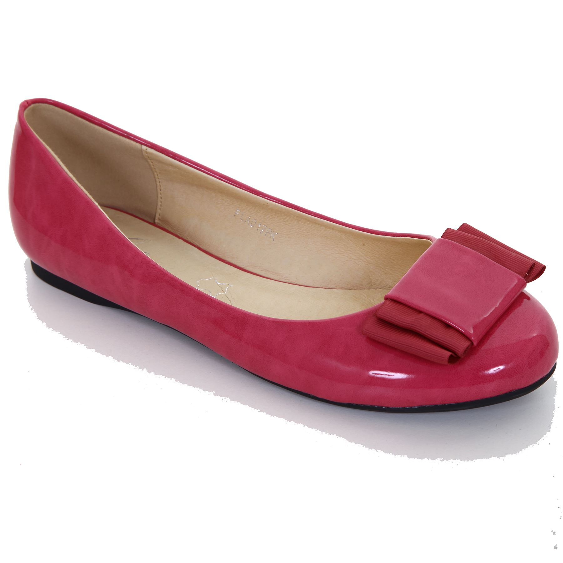 Damen Lack Schleife Akzent Freizeit Komfort Smart Pumps Ballerinas Schuhe 3-8
