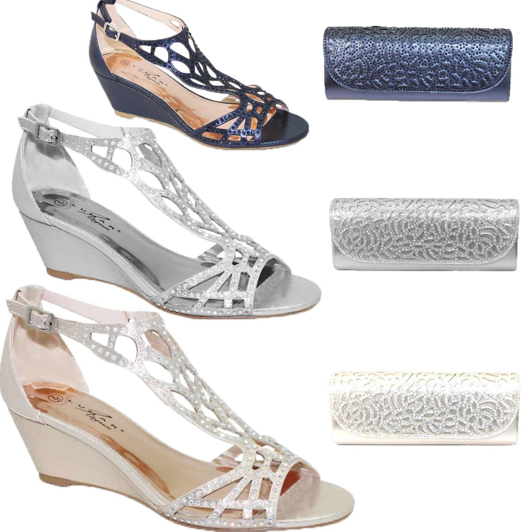 3c408d81a Details about FLC111 Denton Rhinestone Strap Diamante Peep Toe Wedge Sandals  Clutch Bag