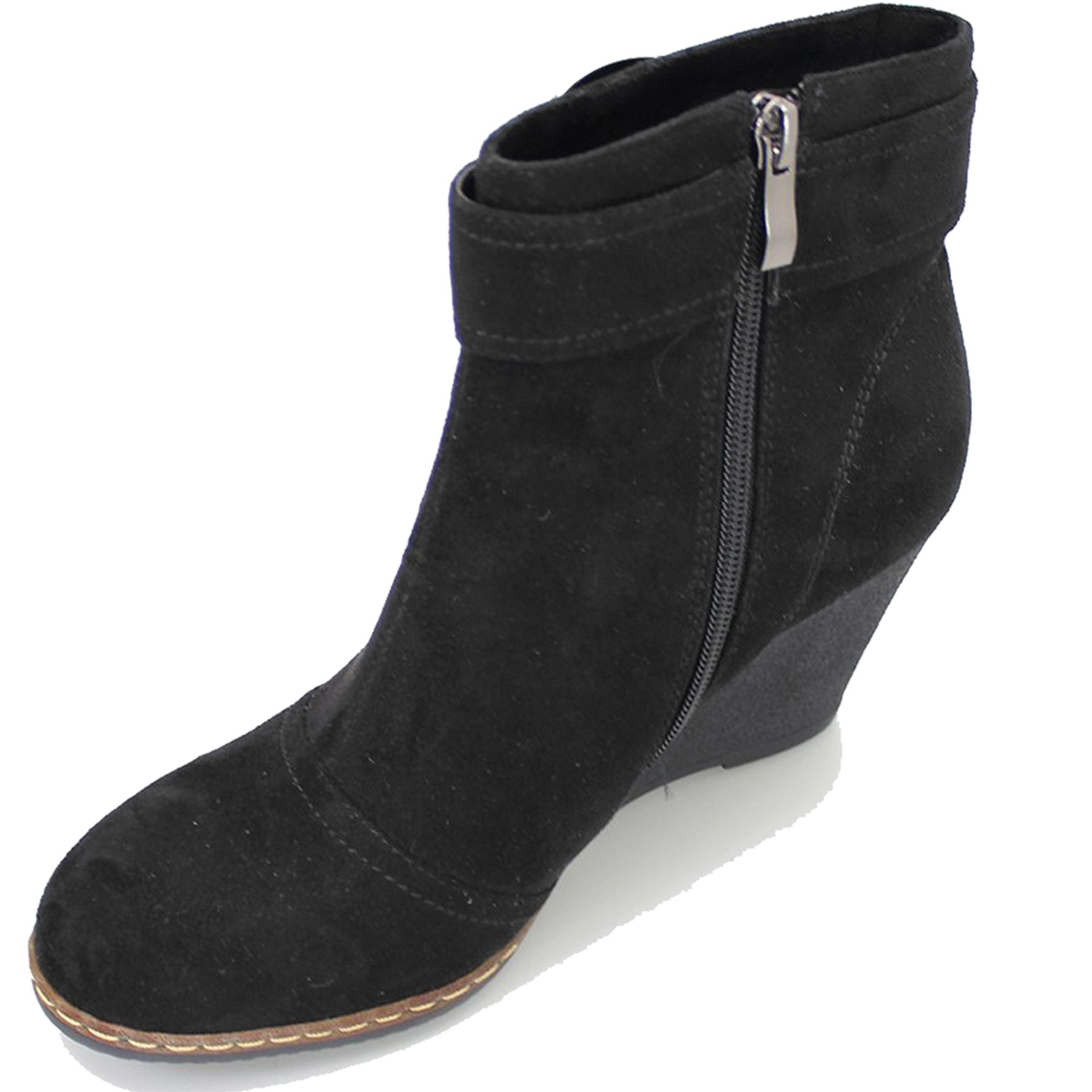 GLC452 Carmen Wedge Damenschuhe Suede Feel Medium Wedge Carmen Smart Buckle Ankle Stiefel deee2a