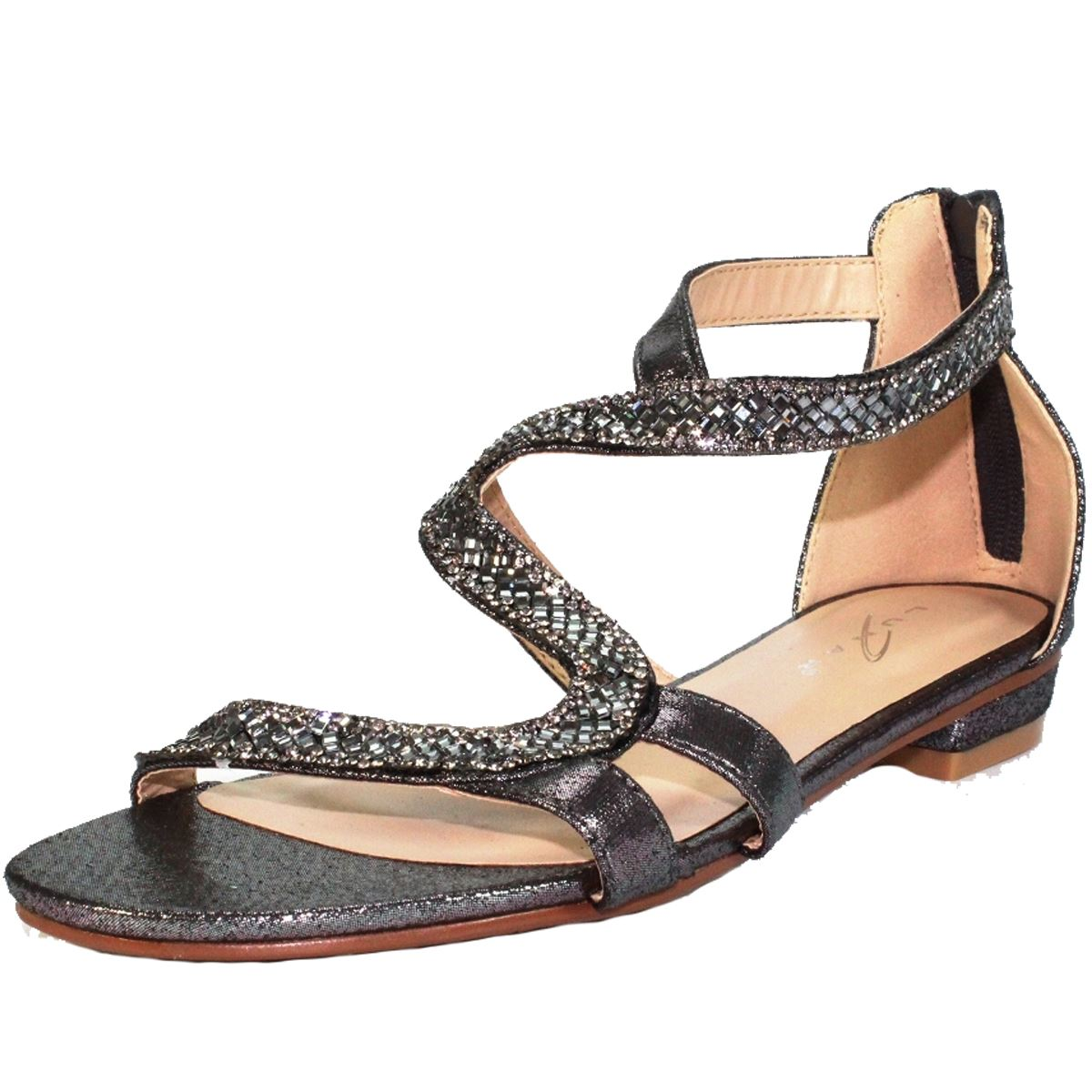 JLH084 Arabia Zipper Diamante Faux Leather Low Flat Heel S Strap Sandals