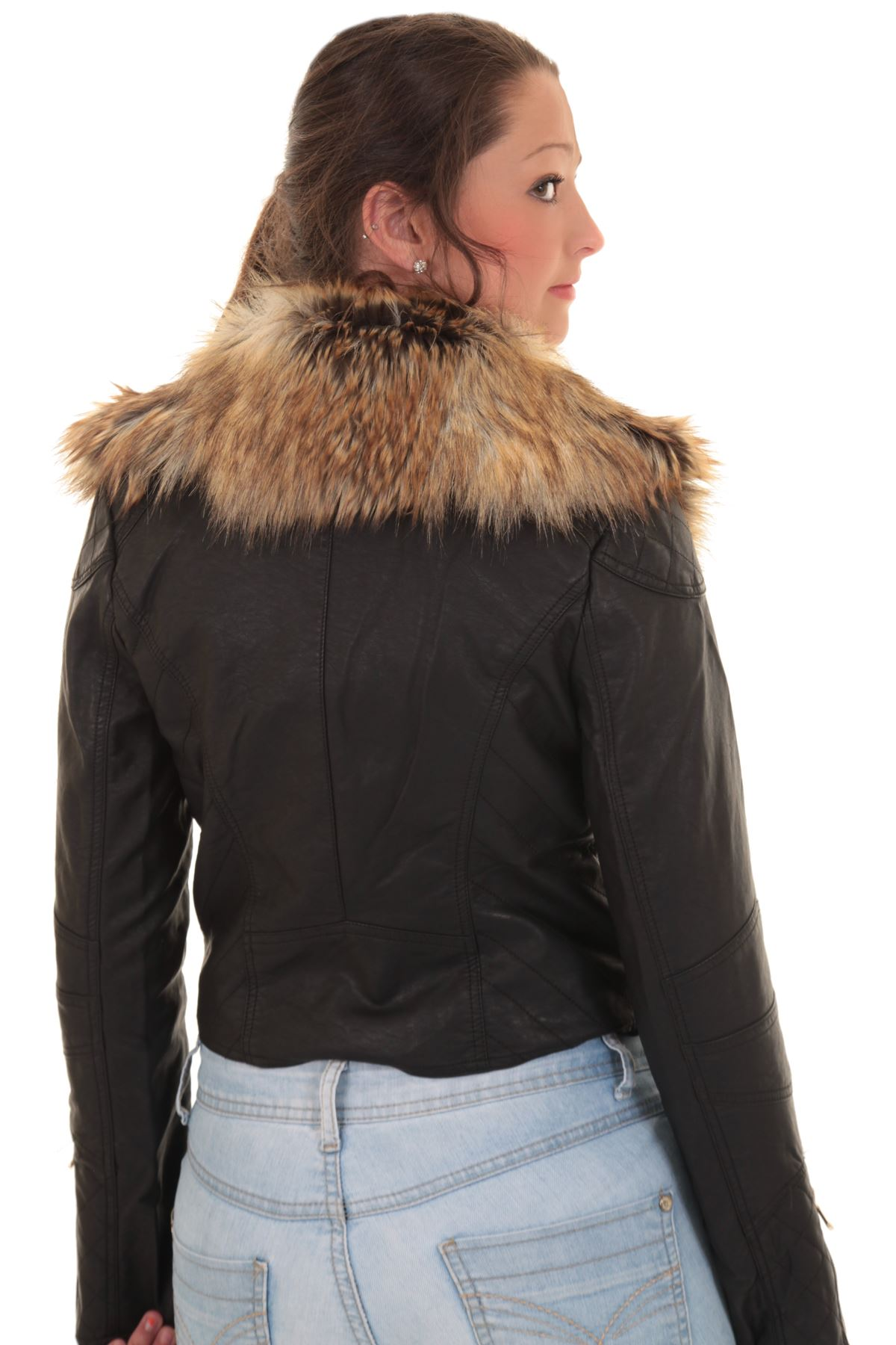 Faux fur leather jackets