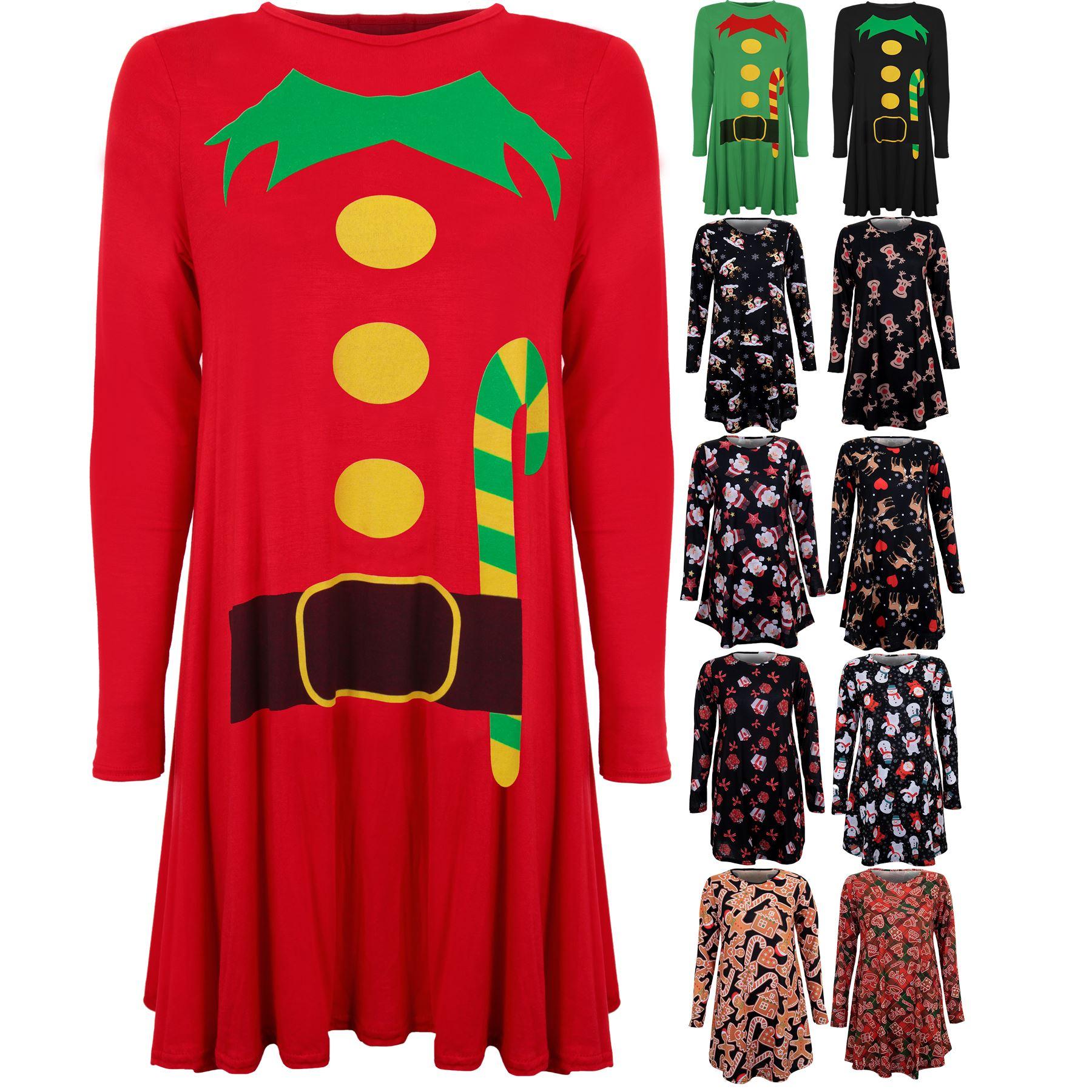 Ladies Flared Skater Snowman Santa Reindeer Elf Suit Christmas Dress ...