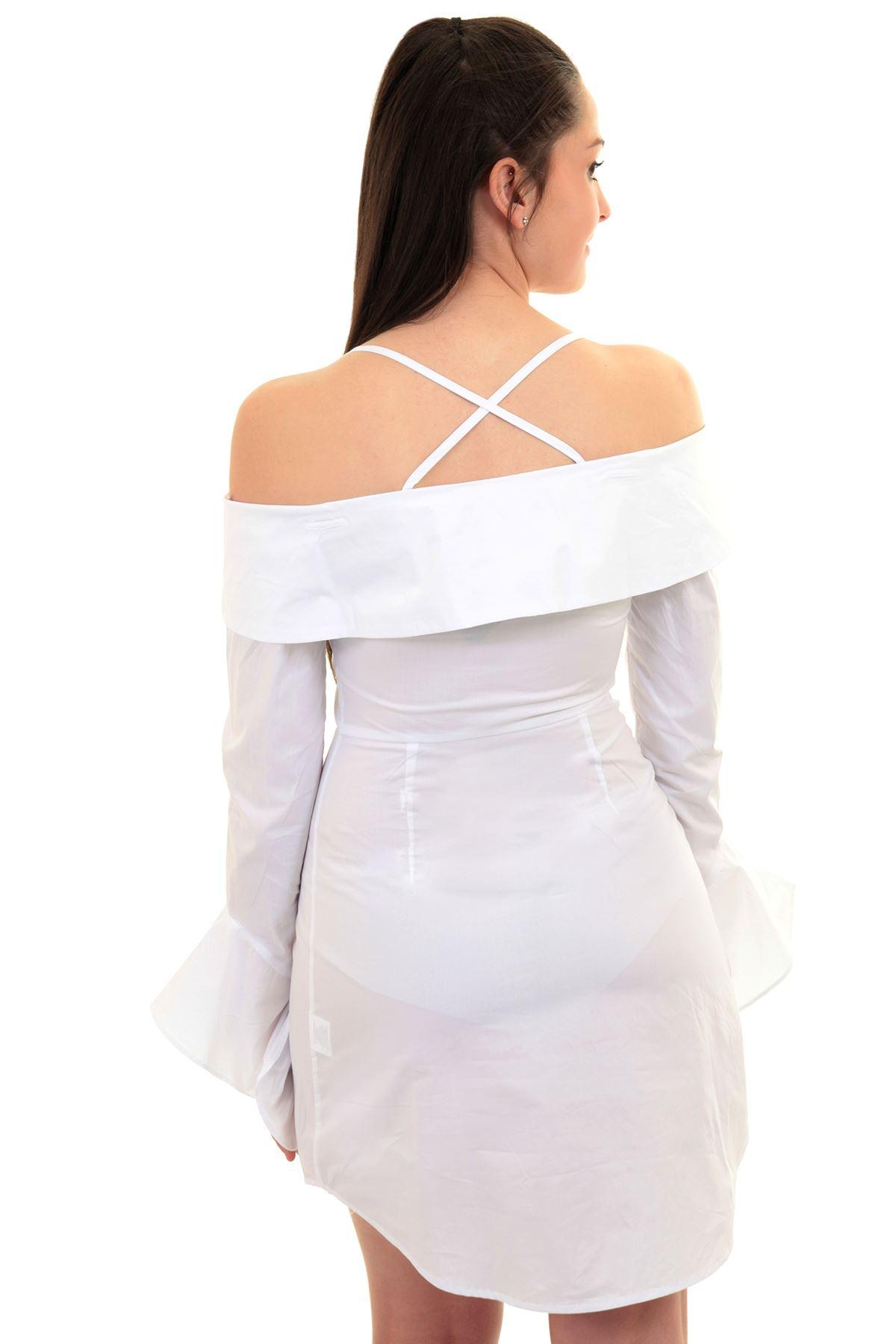 7a10d974a4ea Womens Off Shoulder Bardot Frill Bell Sleeve Long Blouse Button Up ...