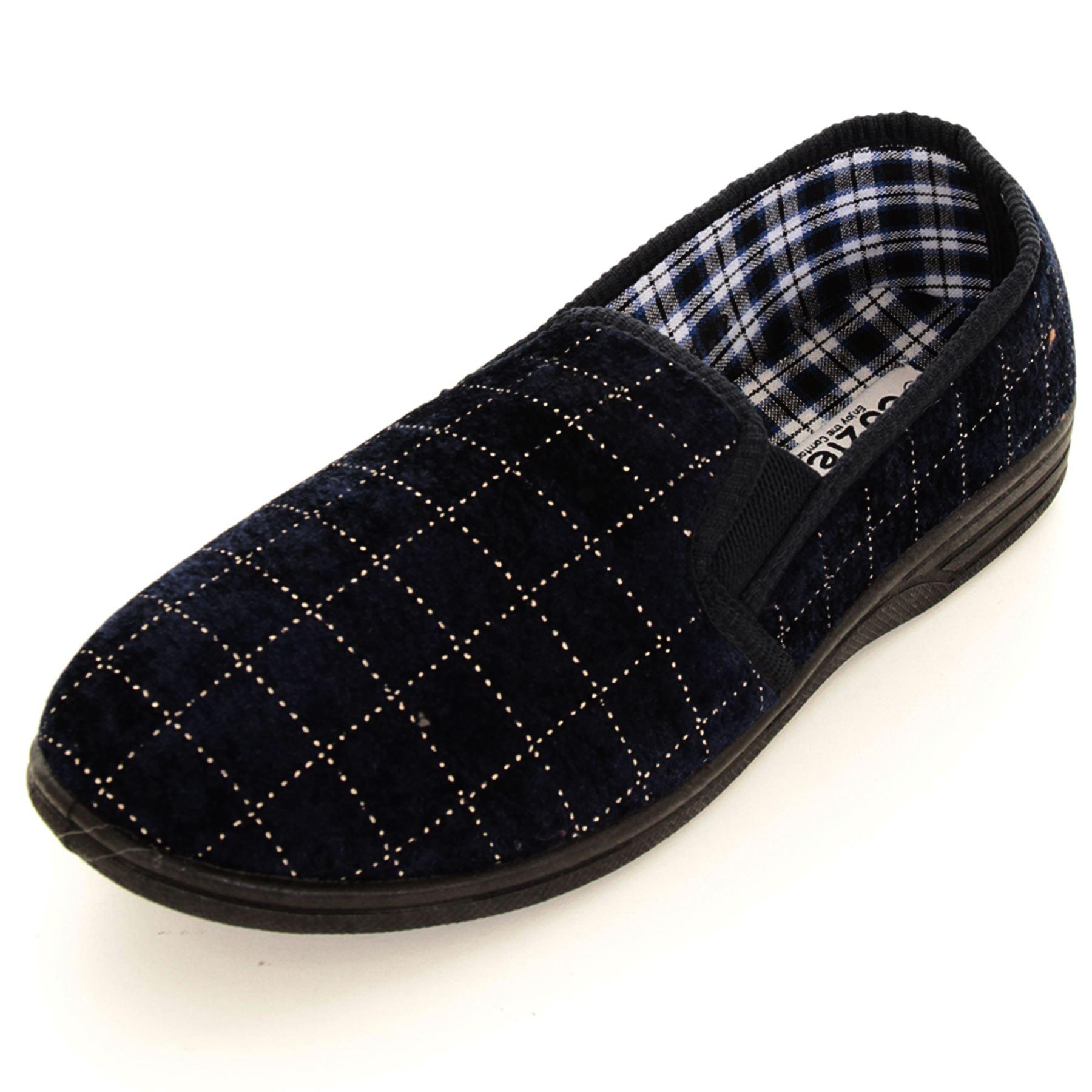 Boys Men Velour Velvet Check Warm Slip On Luxury House Shoes ...
