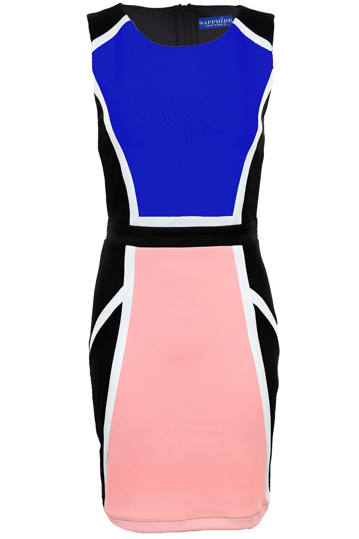 Ladies Sleeveless Black Contrast Abstract Panel Evening Smart Bodycon Dress