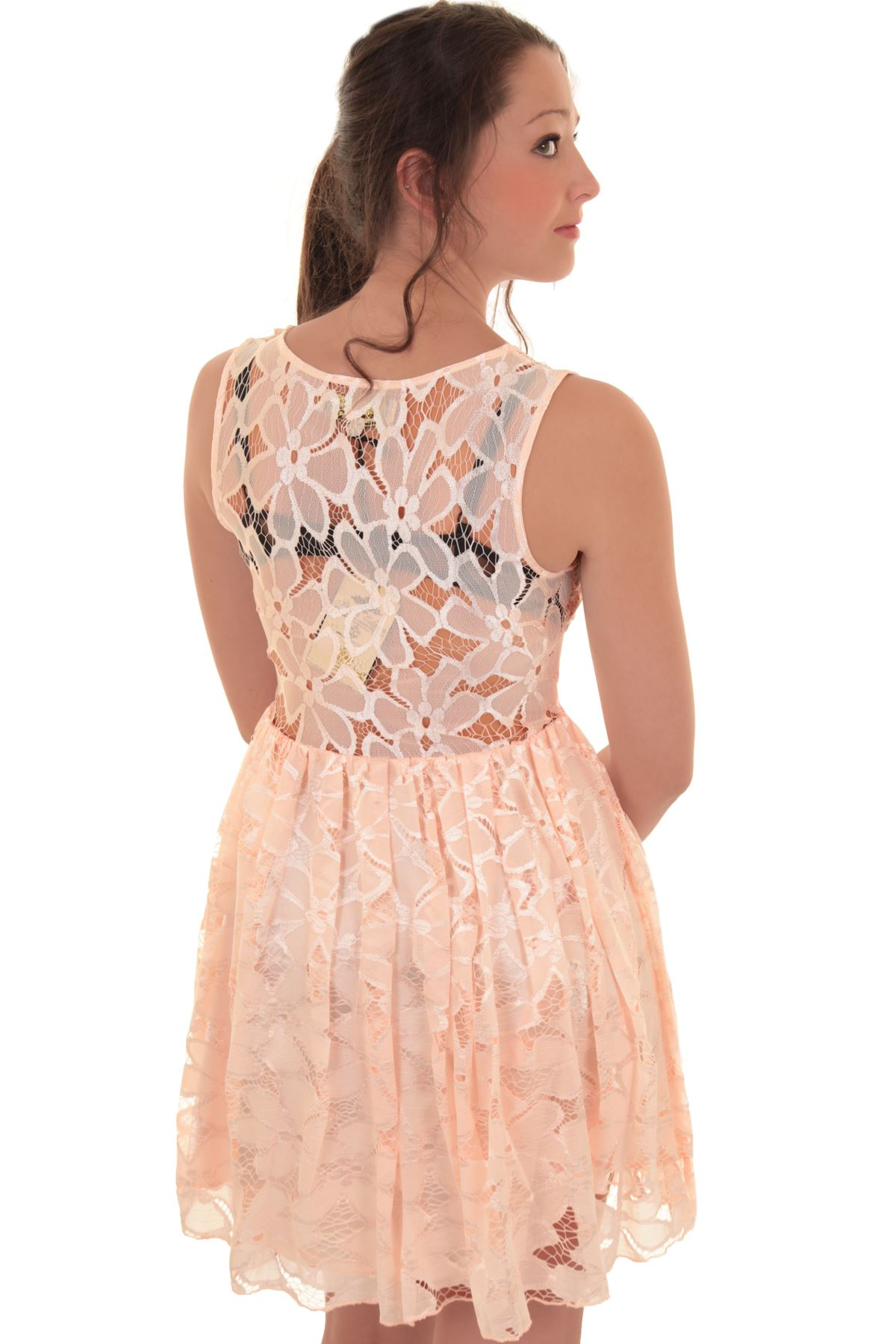 Ladies Celeb Franki Sleeveless Belted Mesh Lace Lined Floral Skater Party Dress