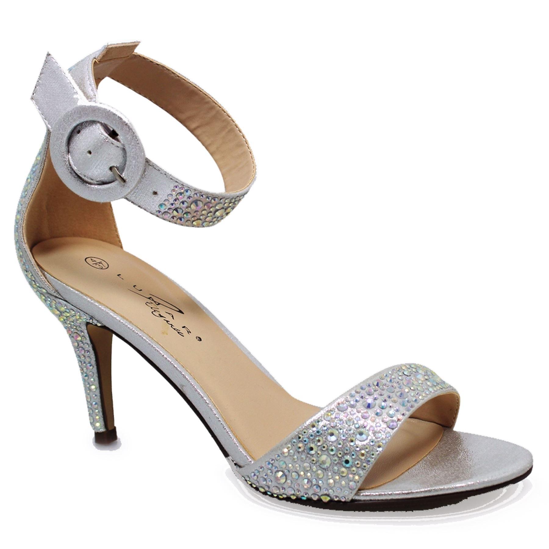 FLR491 Selina Metallic Peep Faux Leder Ankle Strap Peep Metallic Toe Gemstone Heels Bag 3129b0