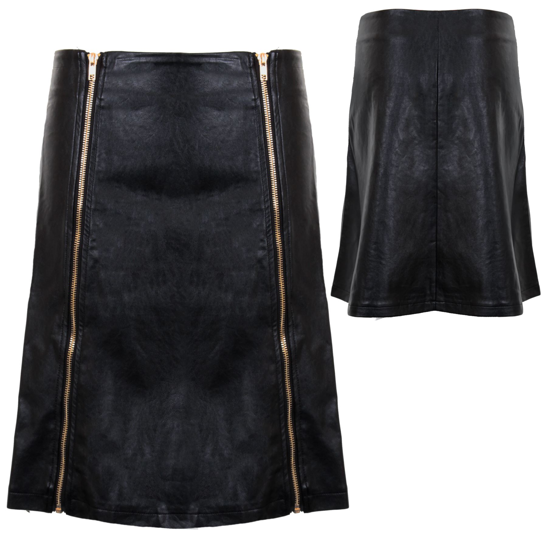 zip a line bodycon pencil faux pu leather