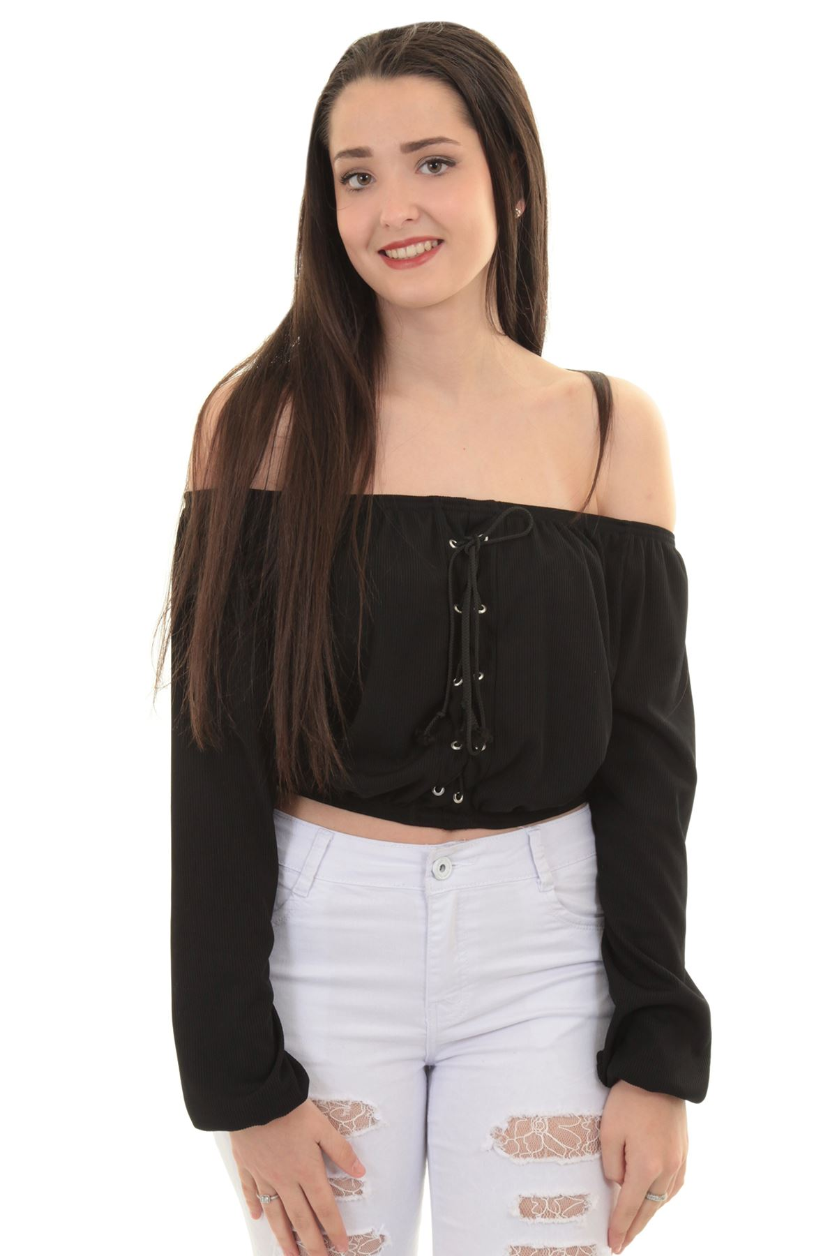 Womens Ribbed Pleated Lace Up Bardot Off Shoulder long Sleeve eyelet Crop Top