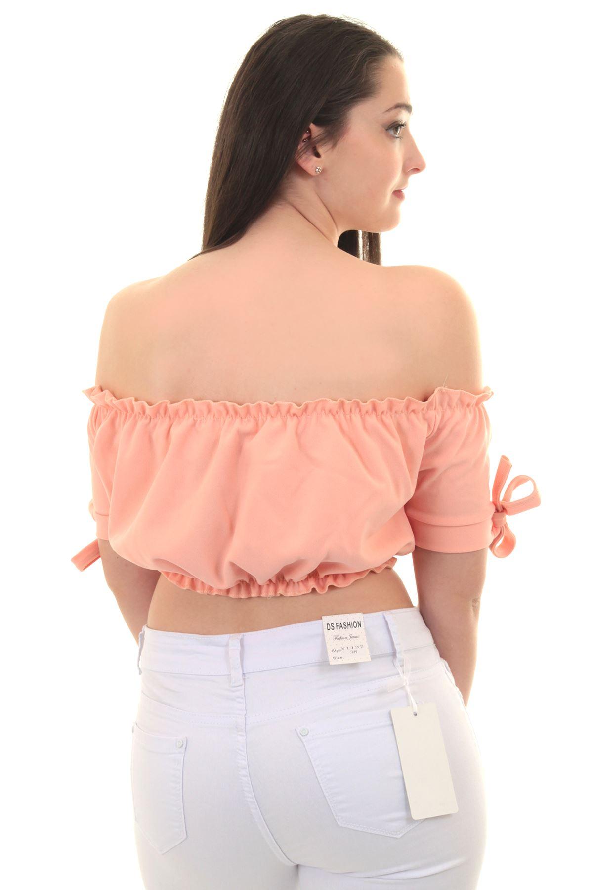 592b9e146b2717 Womens Off Shoulder Bardot Knot Short Sleeve Frill Ruffle Plain ...