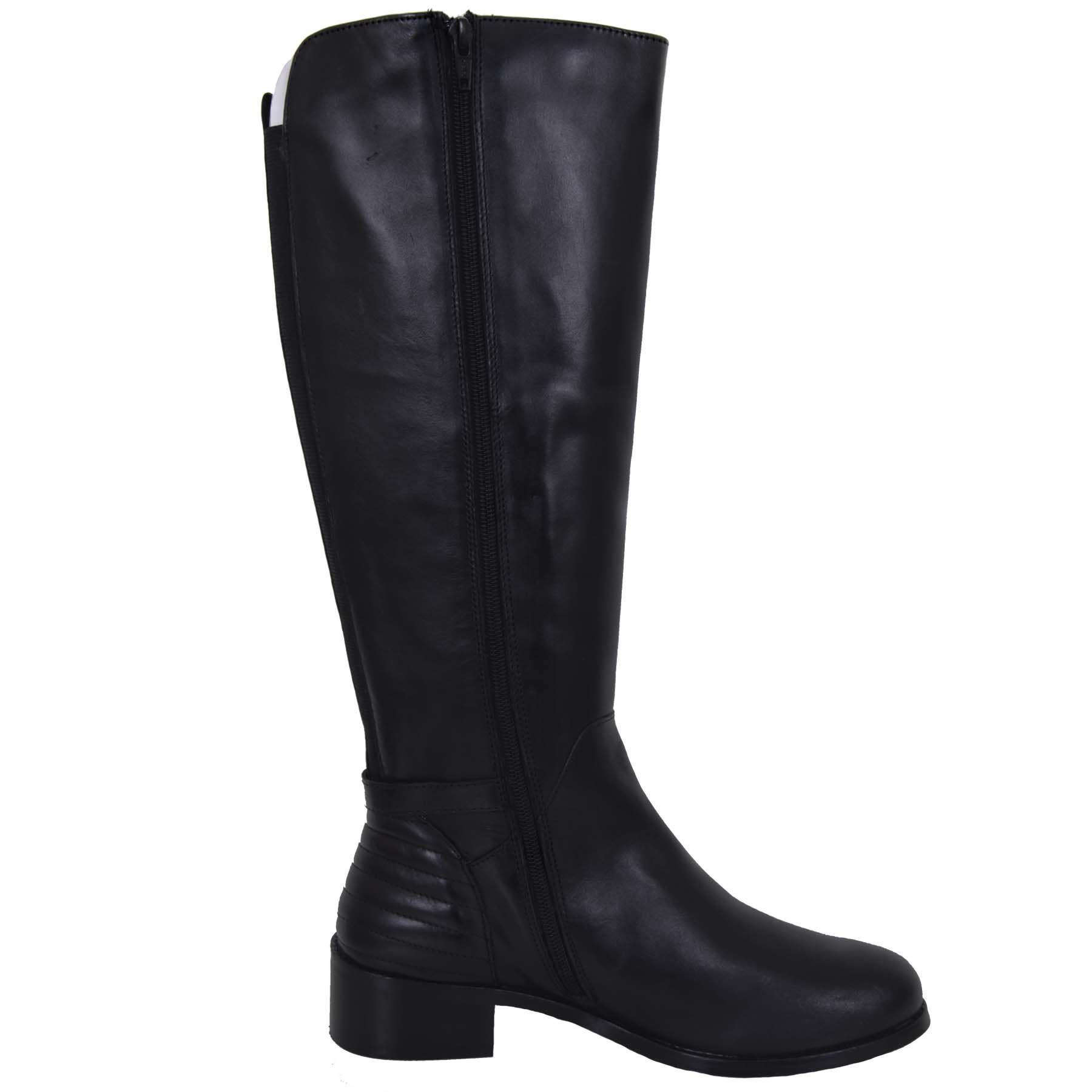 GLH472 Reschwarz Reschwarz Reschwarz Zipper Side Calf High Low Heel Elasticated Genuine Leather Stiefel 73fad2